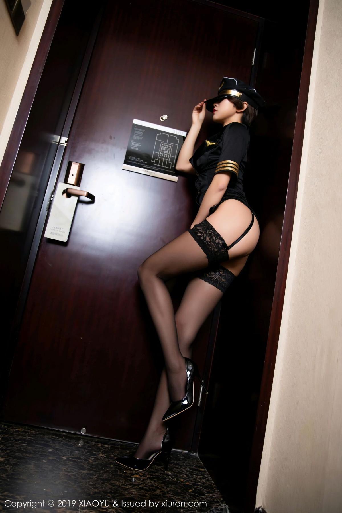 [XiaoYu] Vol.100 Feng Mu Mu 18P, Black Silk, Cool, Feng Mu Mu, Stewardess, Uniform, XiaoYu