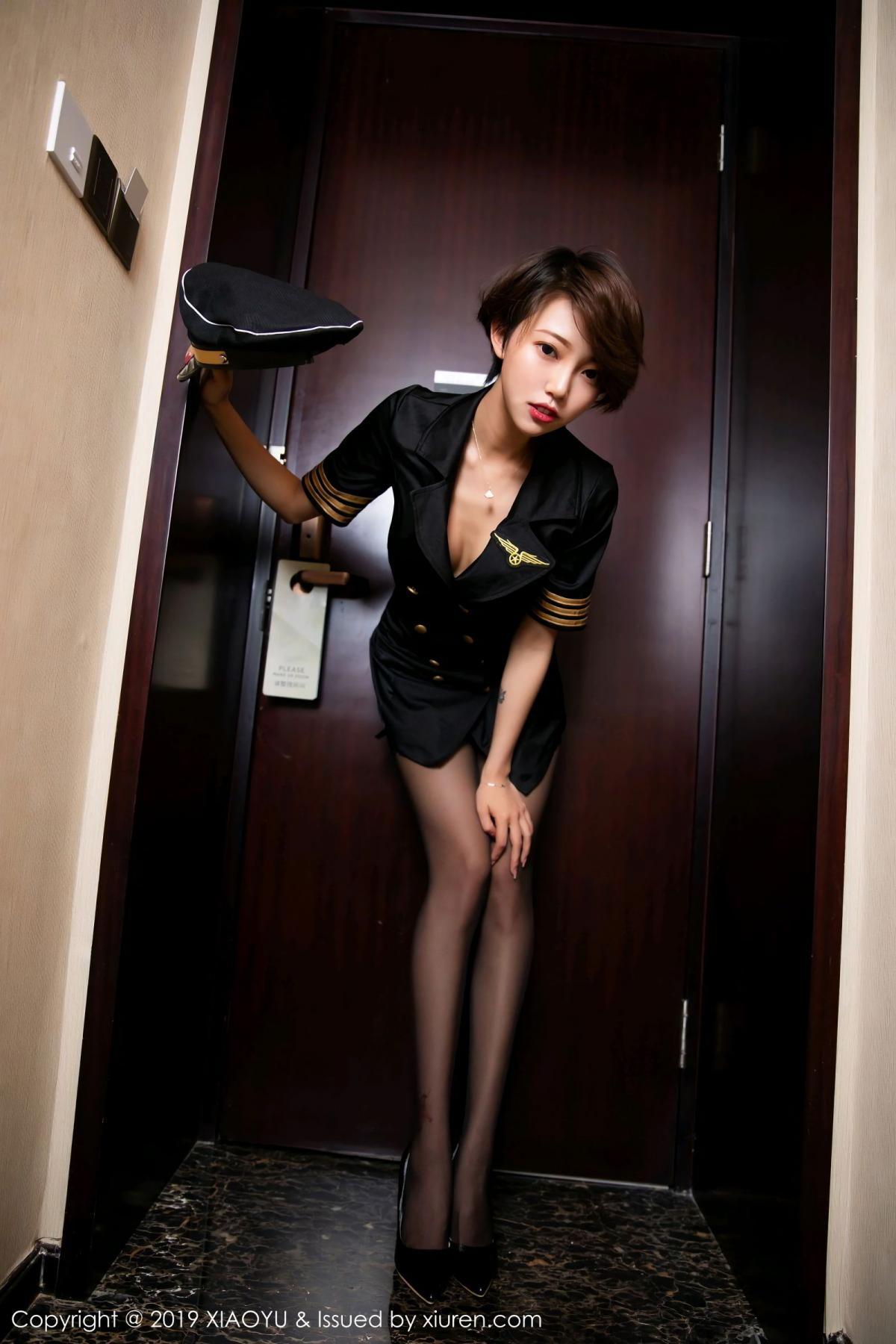 [XiaoYu] Vol.100 Feng Mu Mu 21P, Black Silk, Cool, Feng Mu Mu, Stewardess, Uniform, XiaoYu