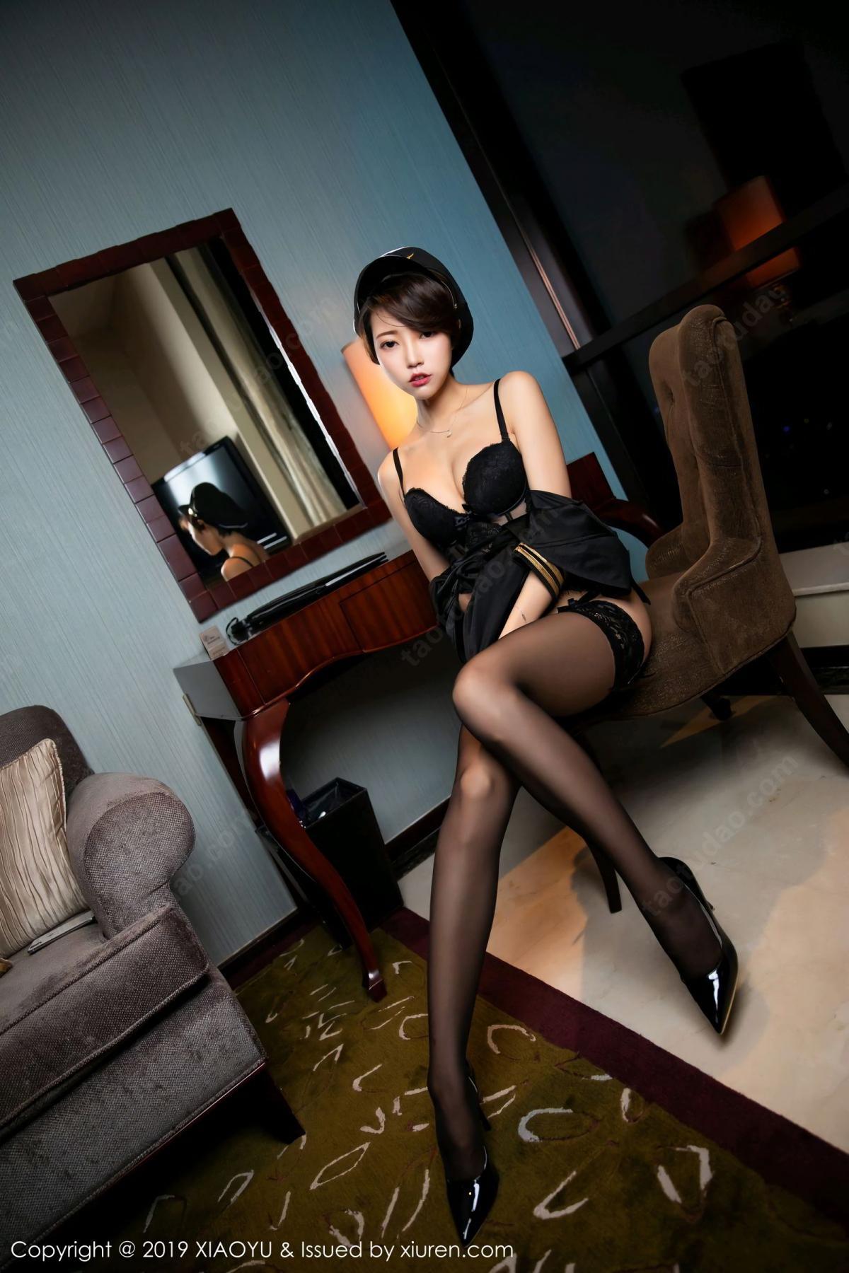 [XiaoYu] Vol.100 Feng Mu Mu 32P, Black Silk, Cool, Feng Mu Mu, Stewardess, Uniform, XiaoYu