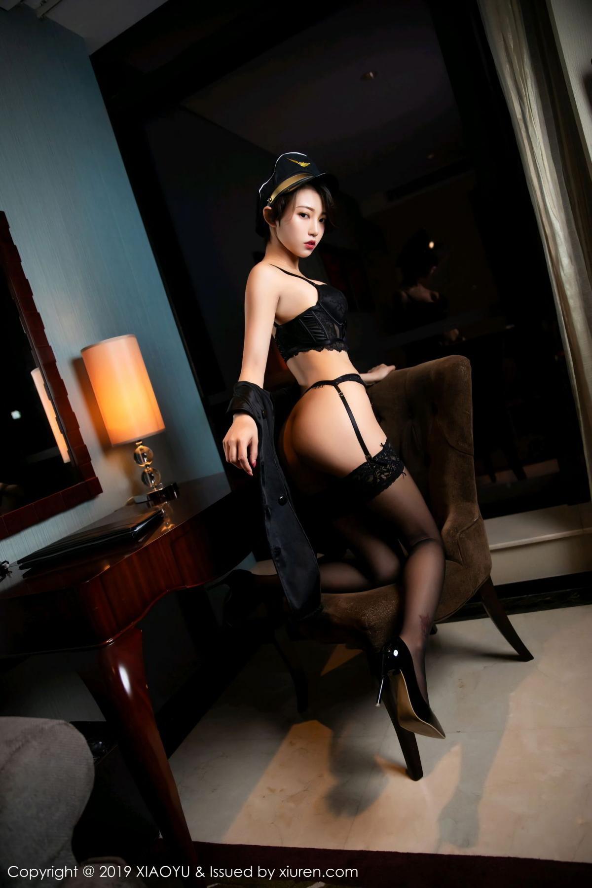 [XiaoYu] Vol.100 Feng Mu Mu 55P, Black Silk, Cool, Feng Mu Mu, Stewardess, Uniform, XiaoYu
