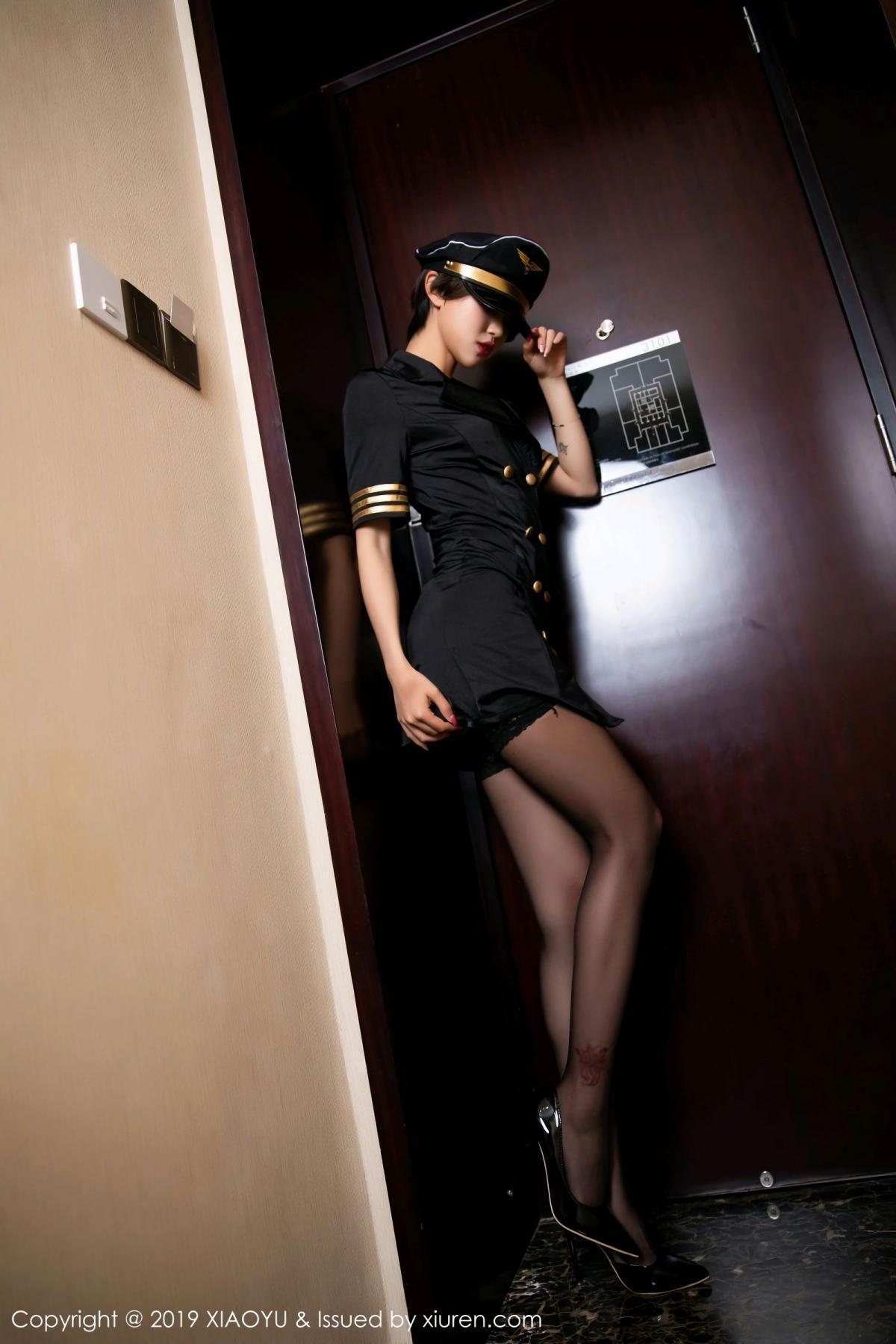 [XiaoYu] Vol.100 Feng Mu Mu 8P, Black Silk, Cool, Feng Mu Mu, Stewardess, Uniform, XiaoYu