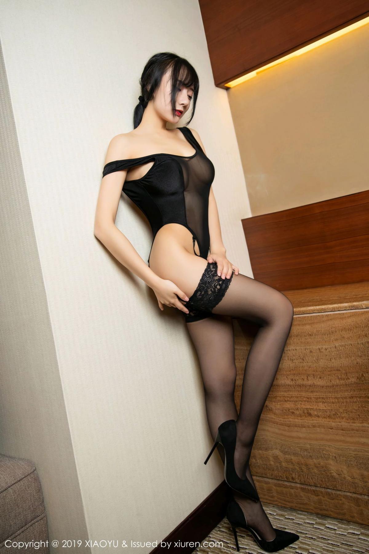 [XiaoYu] Vol.107 He Jia Ying 22P, Black Silk, He Jia Ying, Tall, XiaoYu