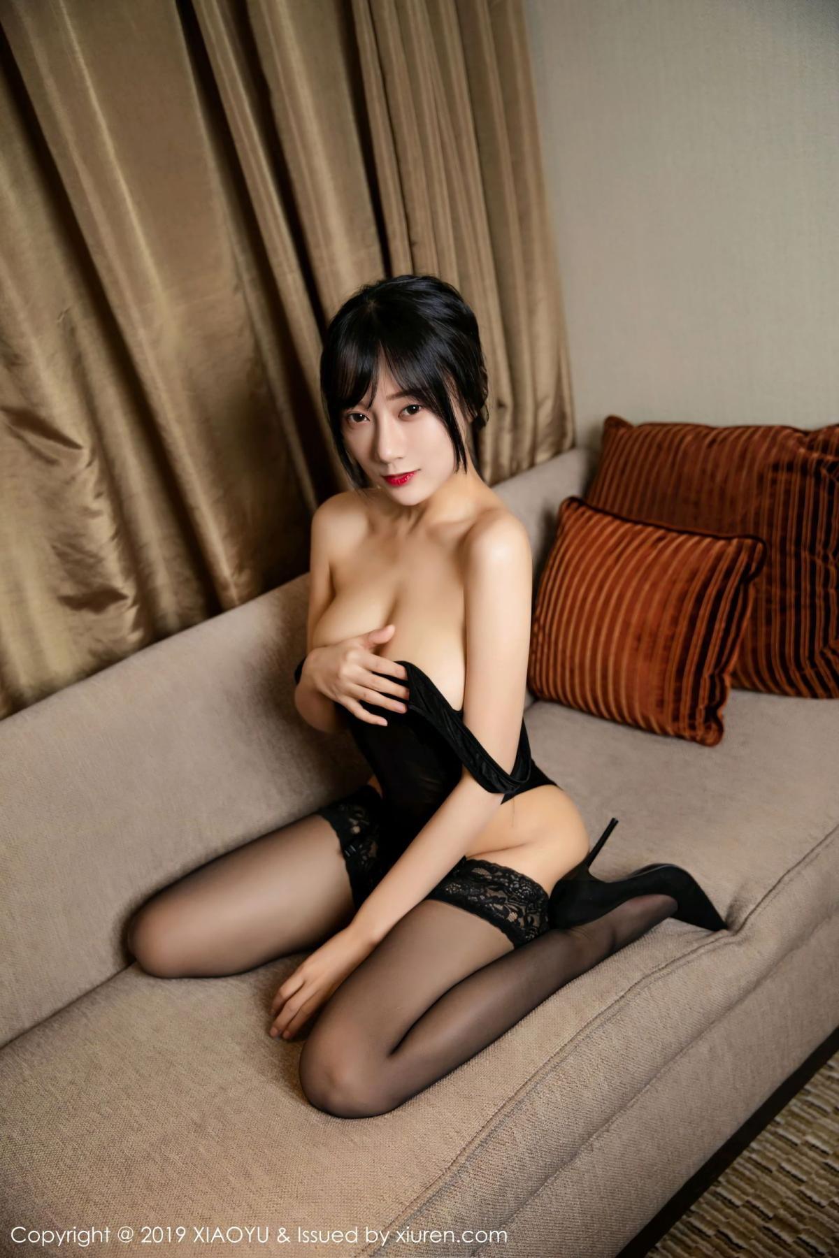 [XiaoYu] Vol.107 He Jia Ying 32P, Black Silk, He Jia Ying, Tall, XiaoYu