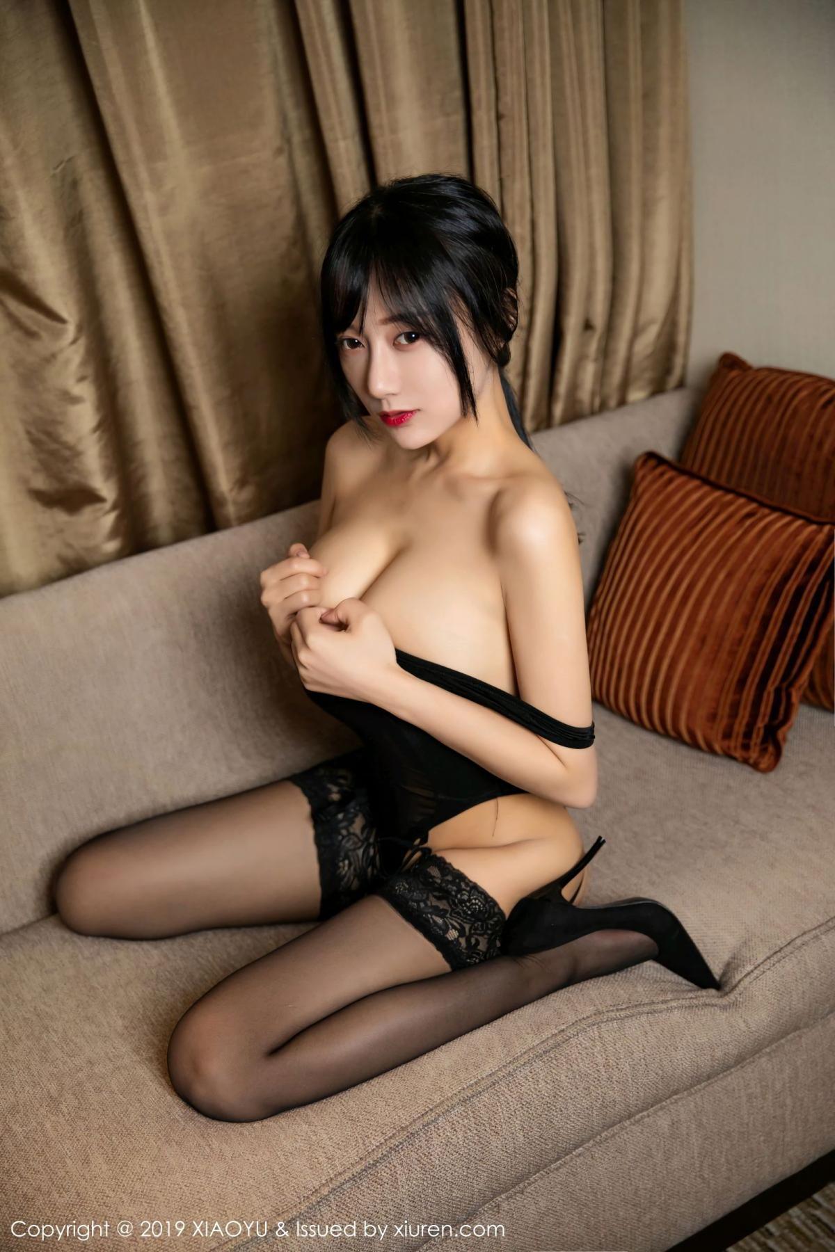 [XiaoYu] Vol.107 He Jia Ying 34P, Black Silk, He Jia Ying, Tall, XiaoYu