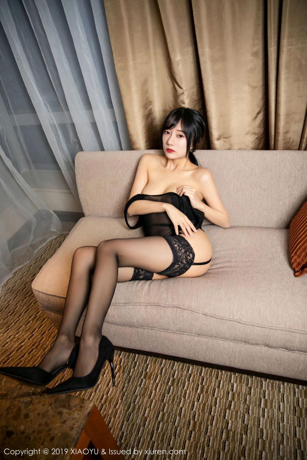 [XiaoYu] Vol.107 He Jia Ying 43P, Black Silk, He Jia Ying, Tall, XiaoYu