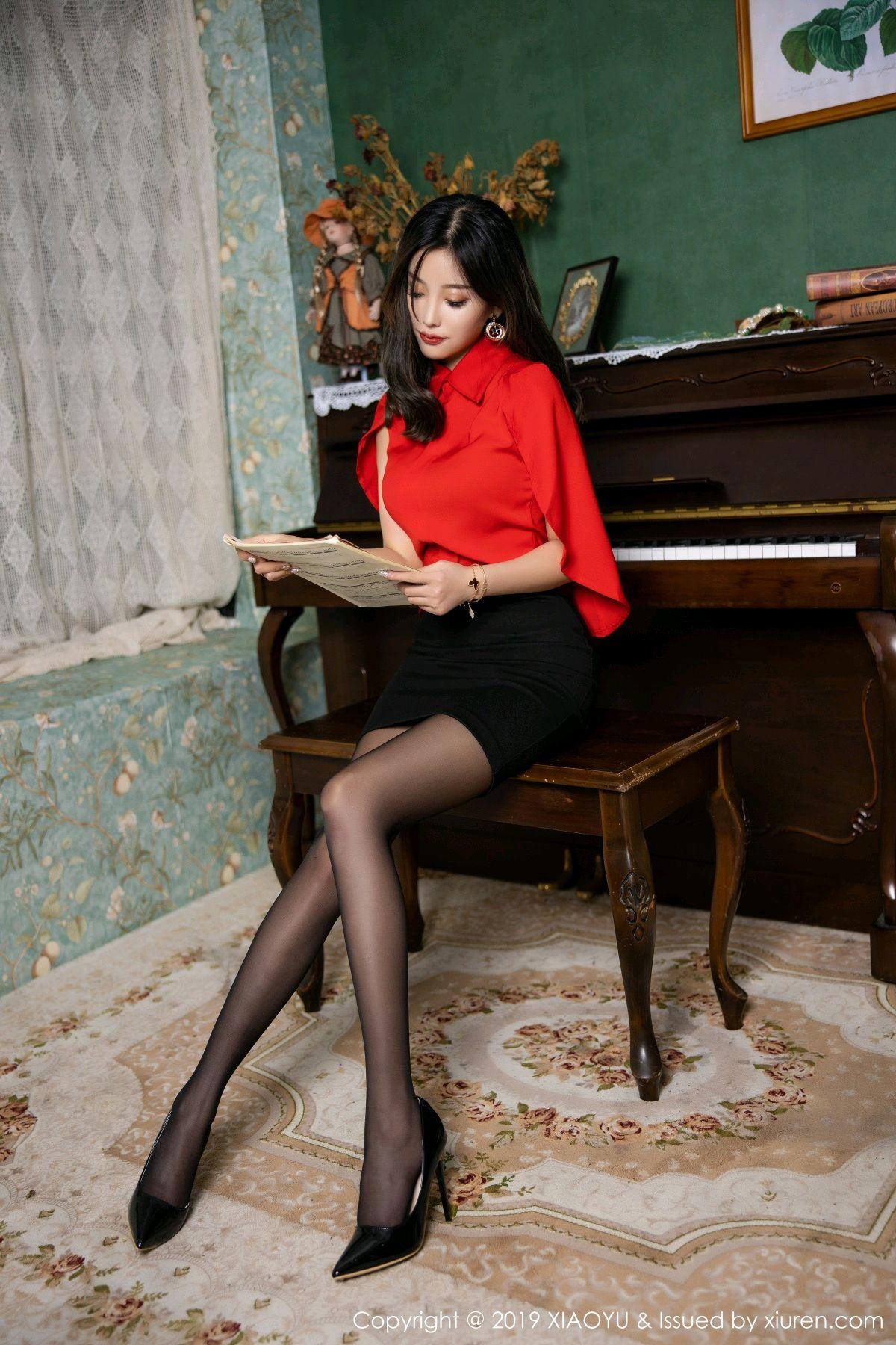 [XiaoYu] Vol.119 Yang Chen Chen 4P, Black Silk, Tall, Temperament, XiaoYu, Yang Chen Chen
