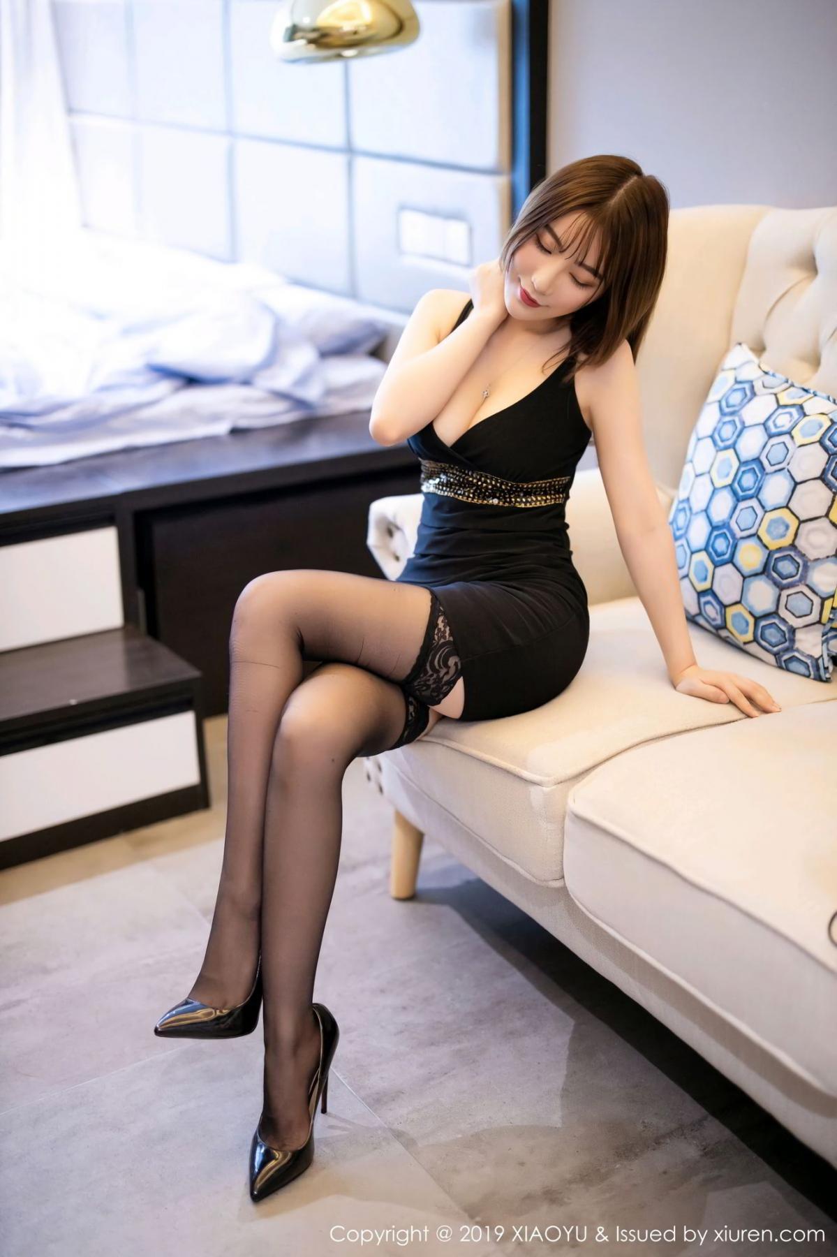 [XiaoYu] Vol.133 Xie Zhi Xin 7P, Black Silk, Tall, XiaoYu, Xie Zhi Xin
