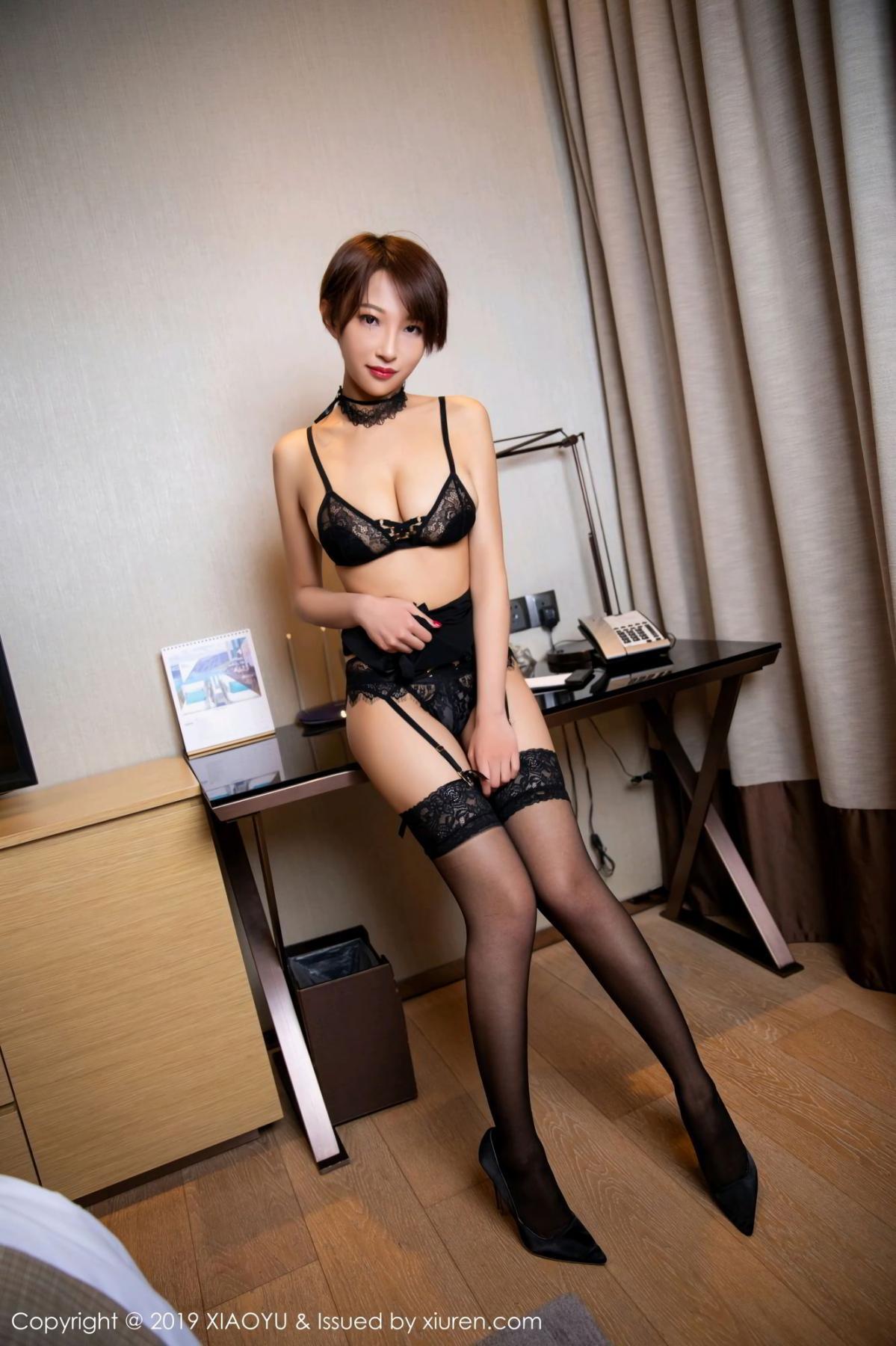 [XiaoYu] Vol.139 Li Zi Riz 12P, Black Silk, Li Zi Riz, Underwear, XiaoYu