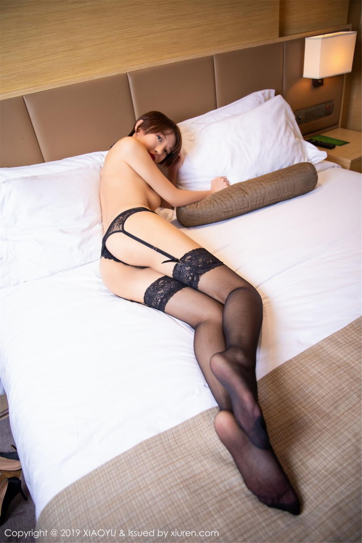 [XiaoYu] Vol.139 Li Zi Riz 44P, Black Silk, Li Zi Riz, Underwear, XiaoYu