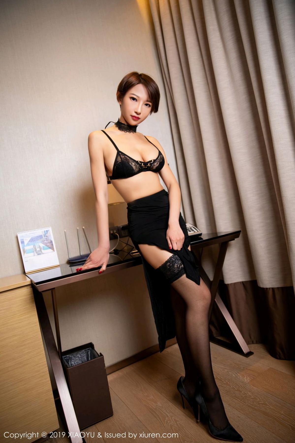 [XiaoYu] Vol.139 Li Zi Riz 4P, Black Silk, Li Zi Riz, Underwear, XiaoYu