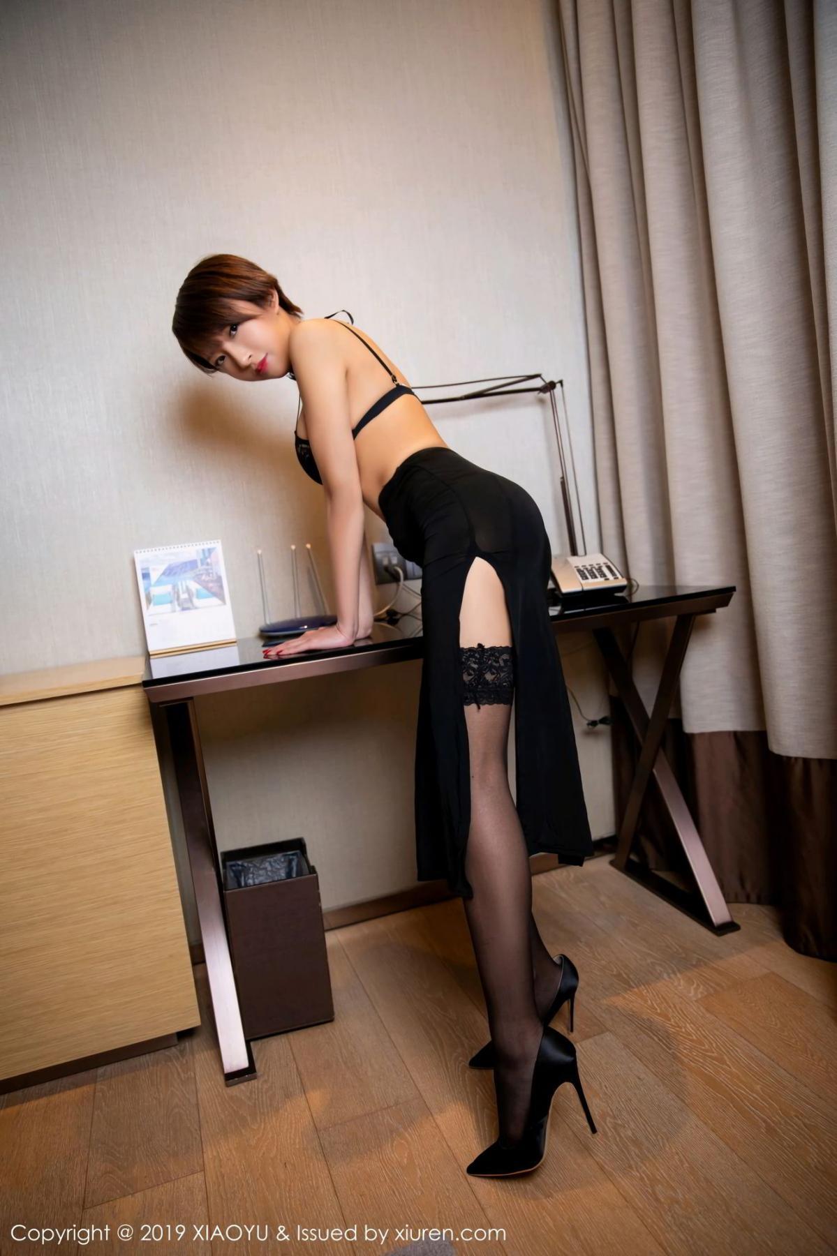 [XiaoYu] Vol.139 Li Zi Riz 5P, Black Silk, Li Zi Riz, Underwear, XiaoYu