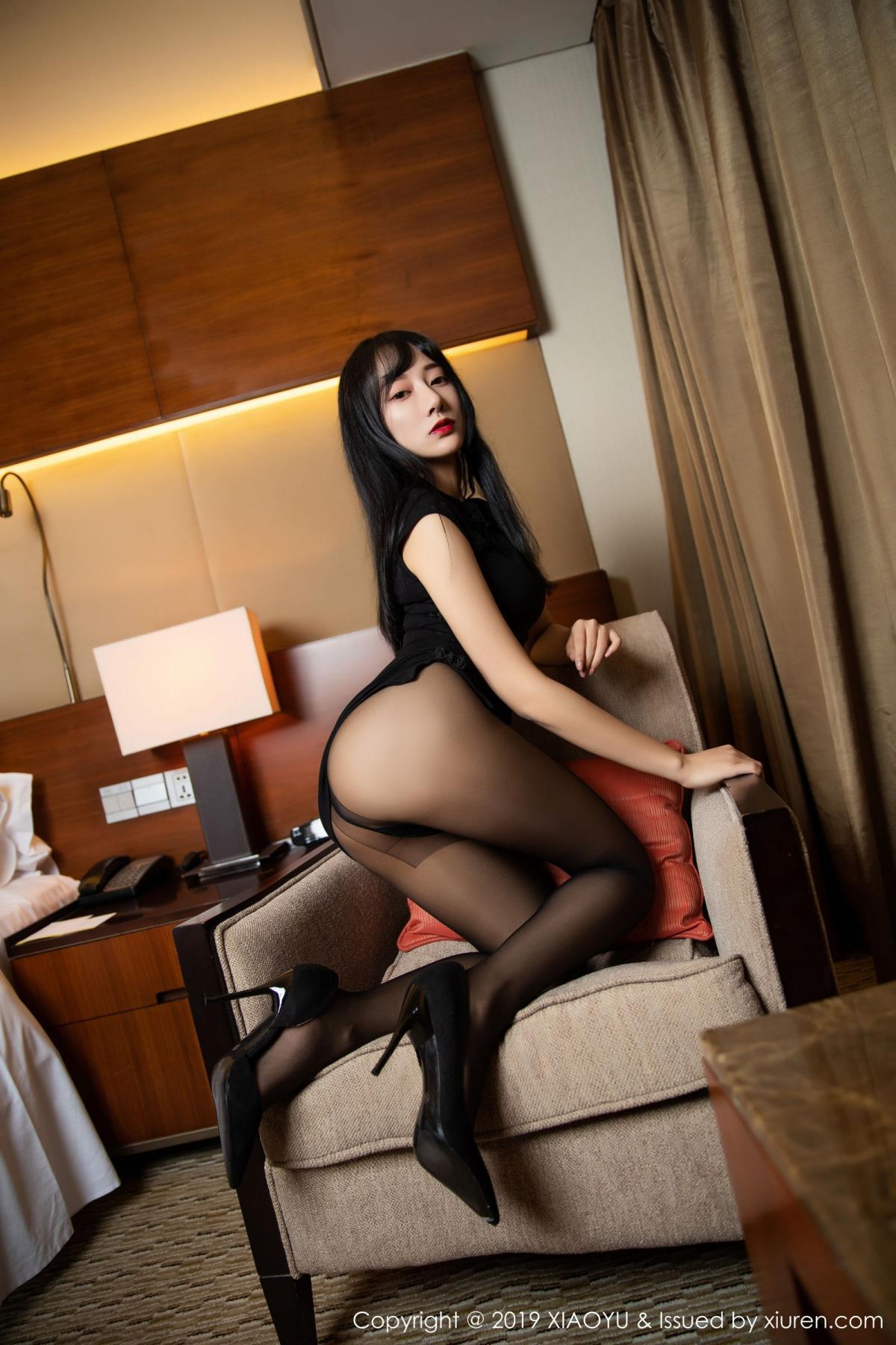 [XiaoYu] Vol.145 He Jia Ying 11P, Black Silk, He Jia Ying, Underwear, XiaoYu