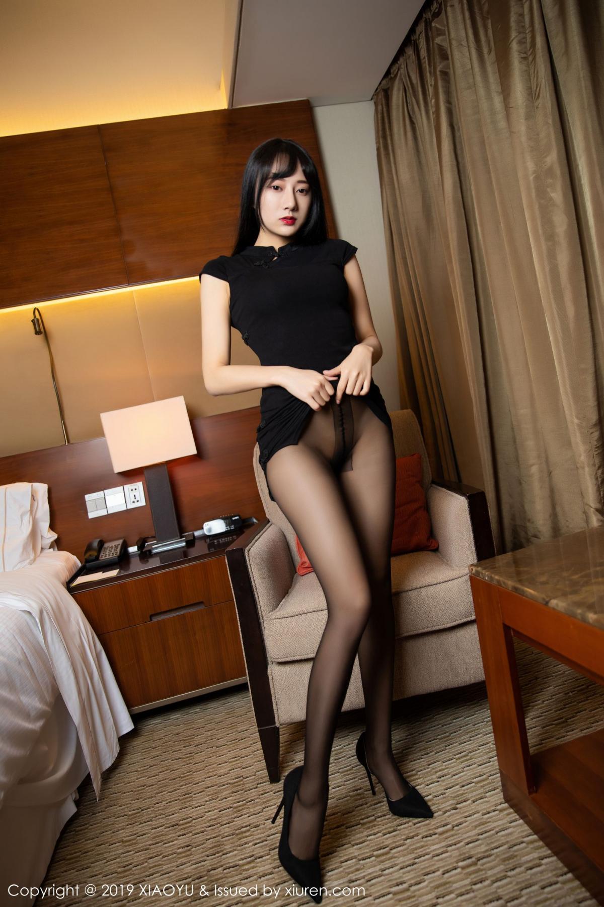 [XiaoYu] Vol.145 He Jia Ying 14P, Black Silk, He Jia Ying, Underwear, XiaoYu