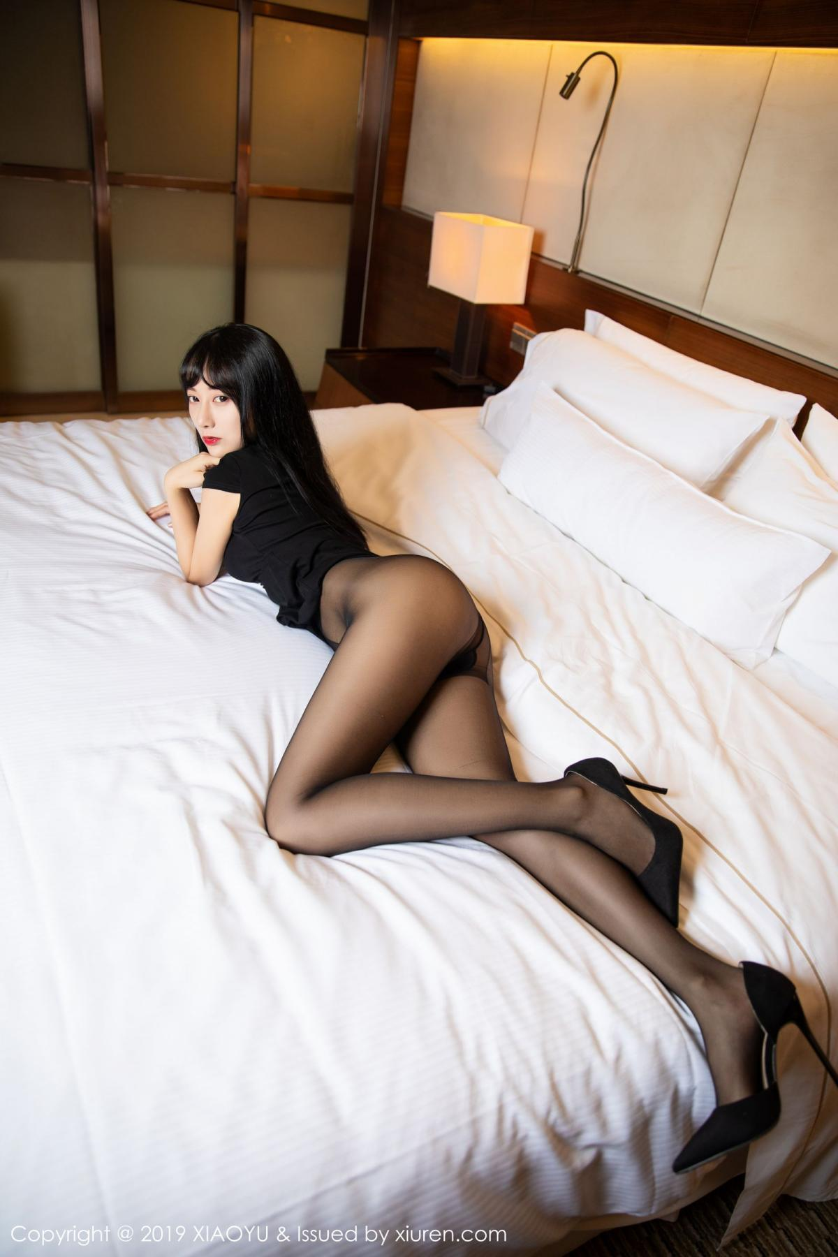 [XiaoYu] Vol.145 He Jia Ying 16P, Black Silk, He Jia Ying, Underwear, XiaoYu