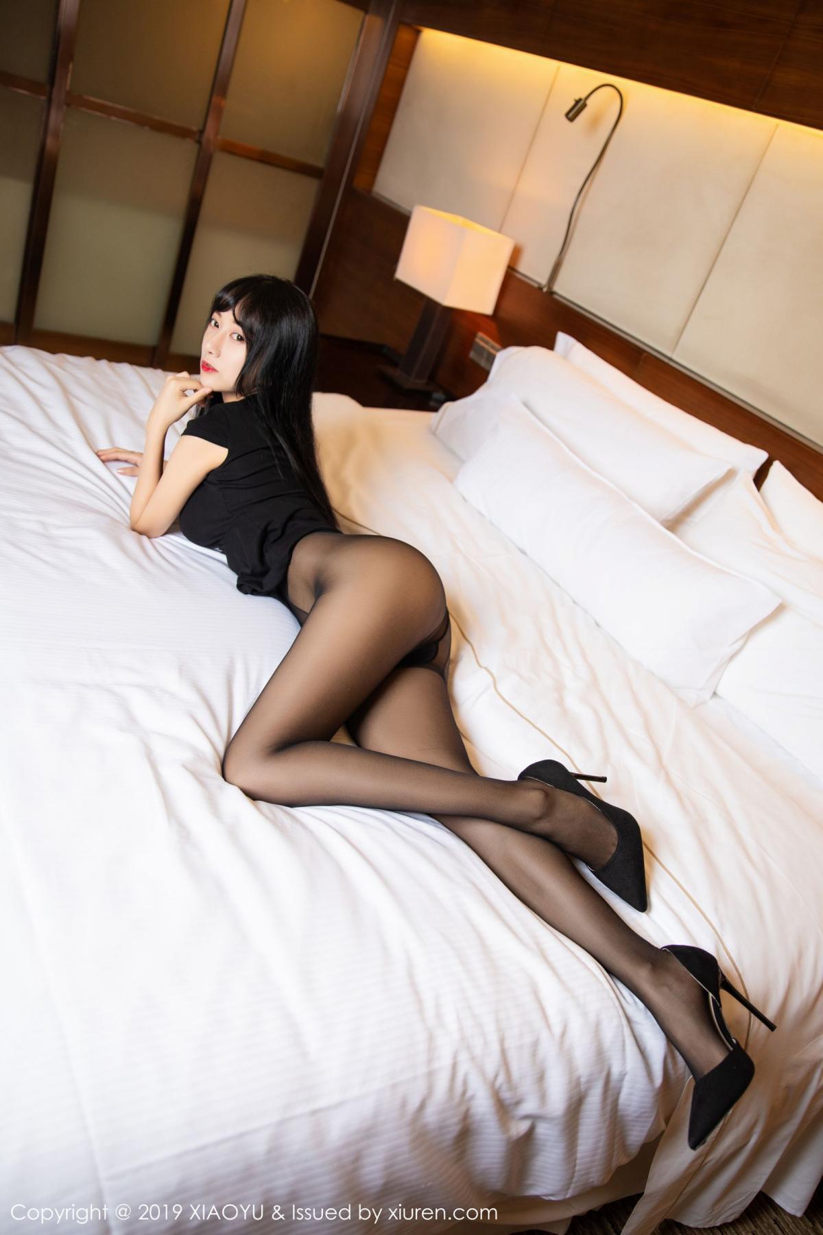 [XiaoYu] Vol.145 He Jia Ying 17P, Black Silk, He Jia Ying, Underwear, XiaoYu