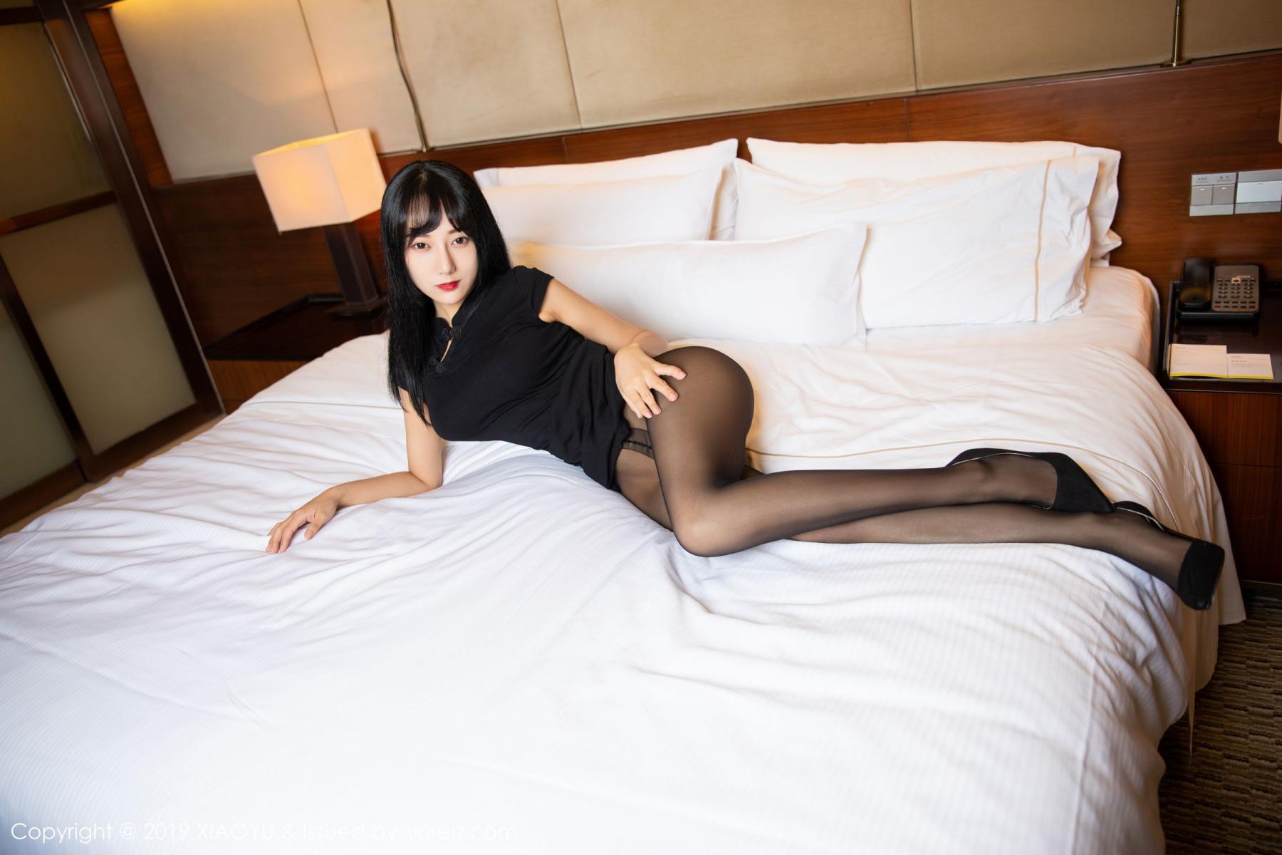 [XiaoYu] Vol.145 He Jia Ying 18P, Black Silk, He Jia Ying, Underwear, XiaoYu