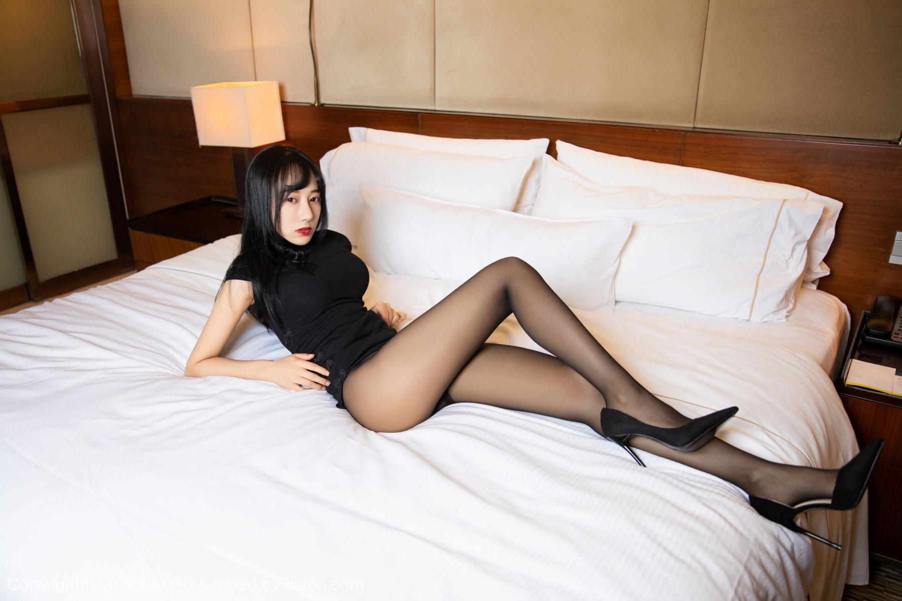 [XiaoYu] Vol.145 He Jia Ying 19P, Black Silk, He Jia Ying, Underwear, XiaoYu