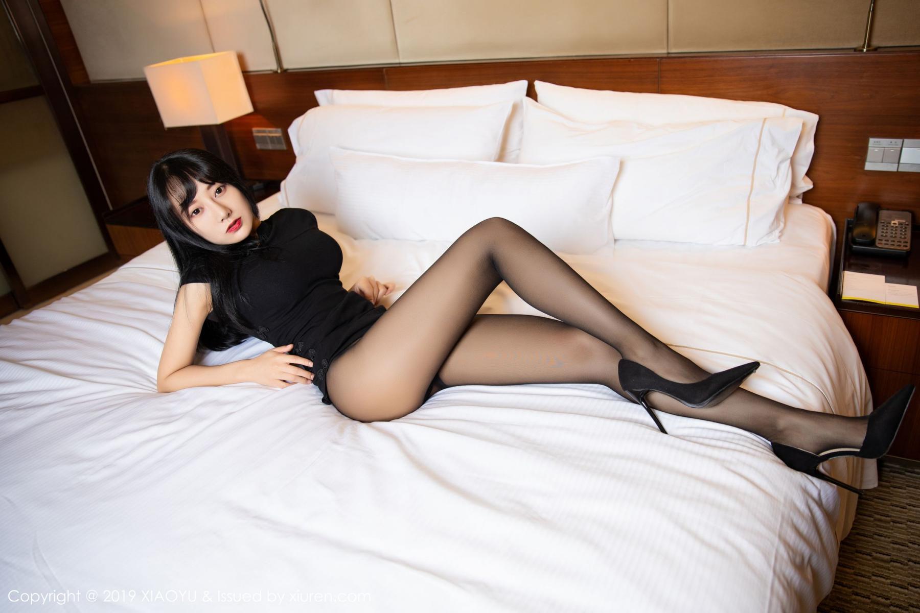 [XiaoYu] Vol.145 He Jia Ying 20P, Black Silk, He Jia Ying, Underwear, XiaoYu