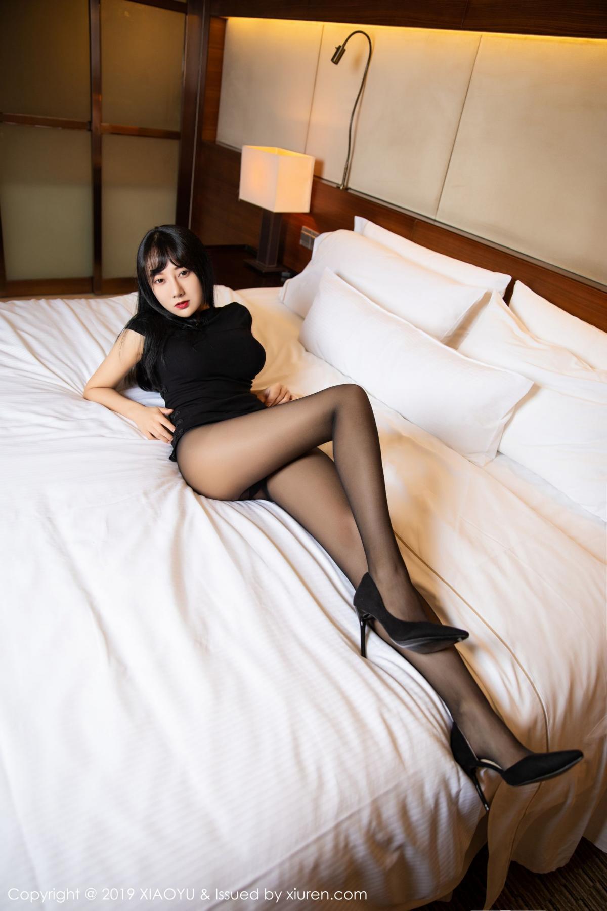 [XiaoYu] Vol.145 He Jia Ying 21P, Black Silk, He Jia Ying, Underwear, XiaoYu