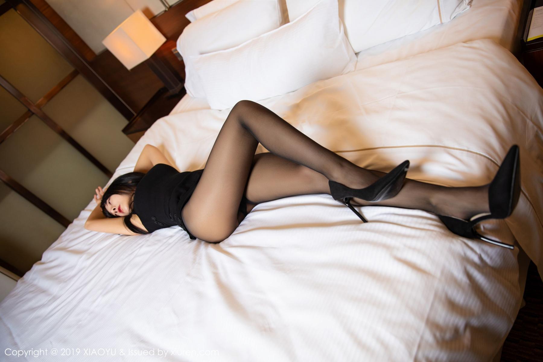 [XiaoYu] Vol.145 He Jia Ying 22P, Black Silk, He Jia Ying, Underwear, XiaoYu