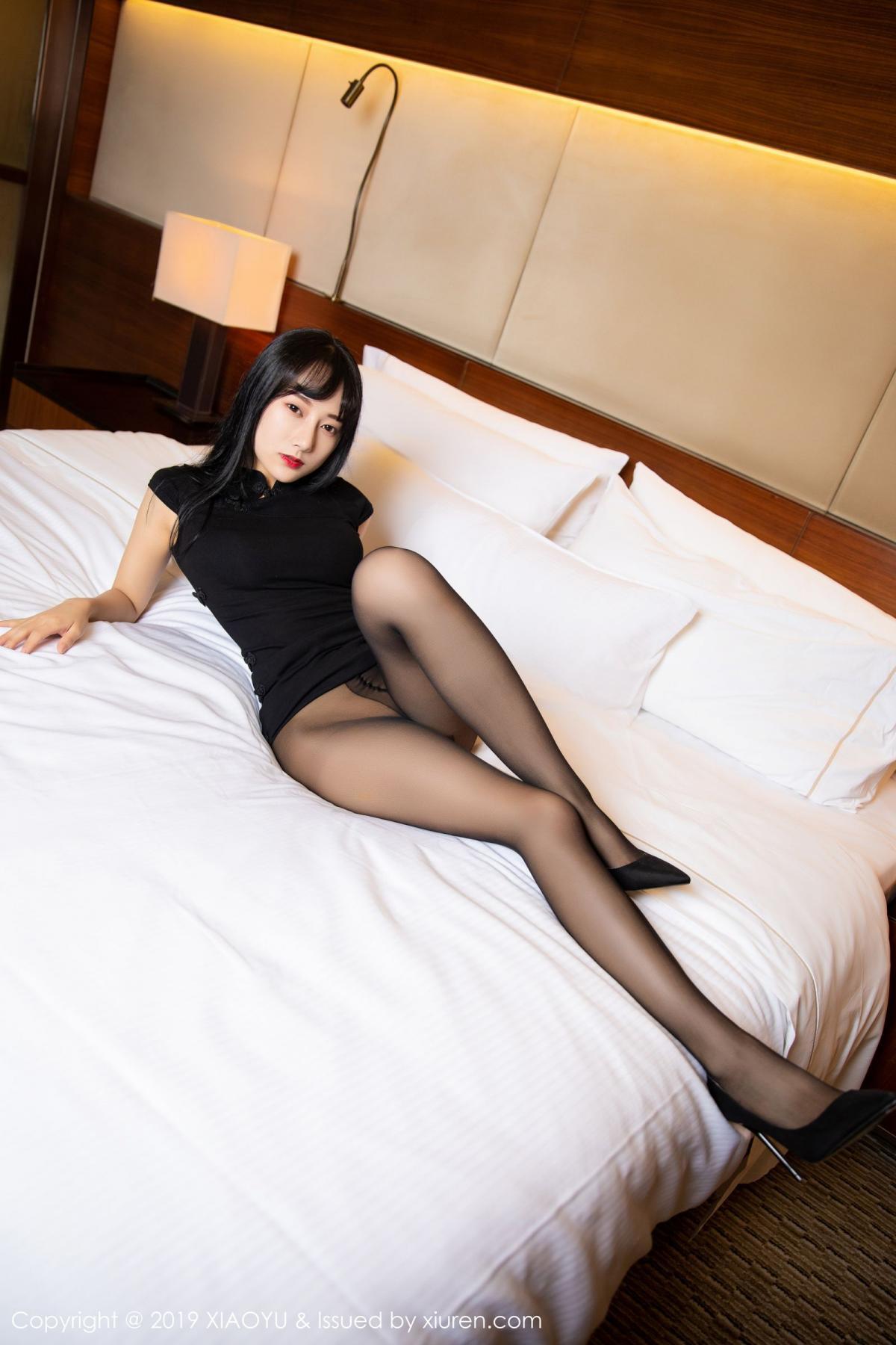 [XiaoYu] Vol.145 He Jia Ying 23P, Black Silk, He Jia Ying, Underwear, XiaoYu