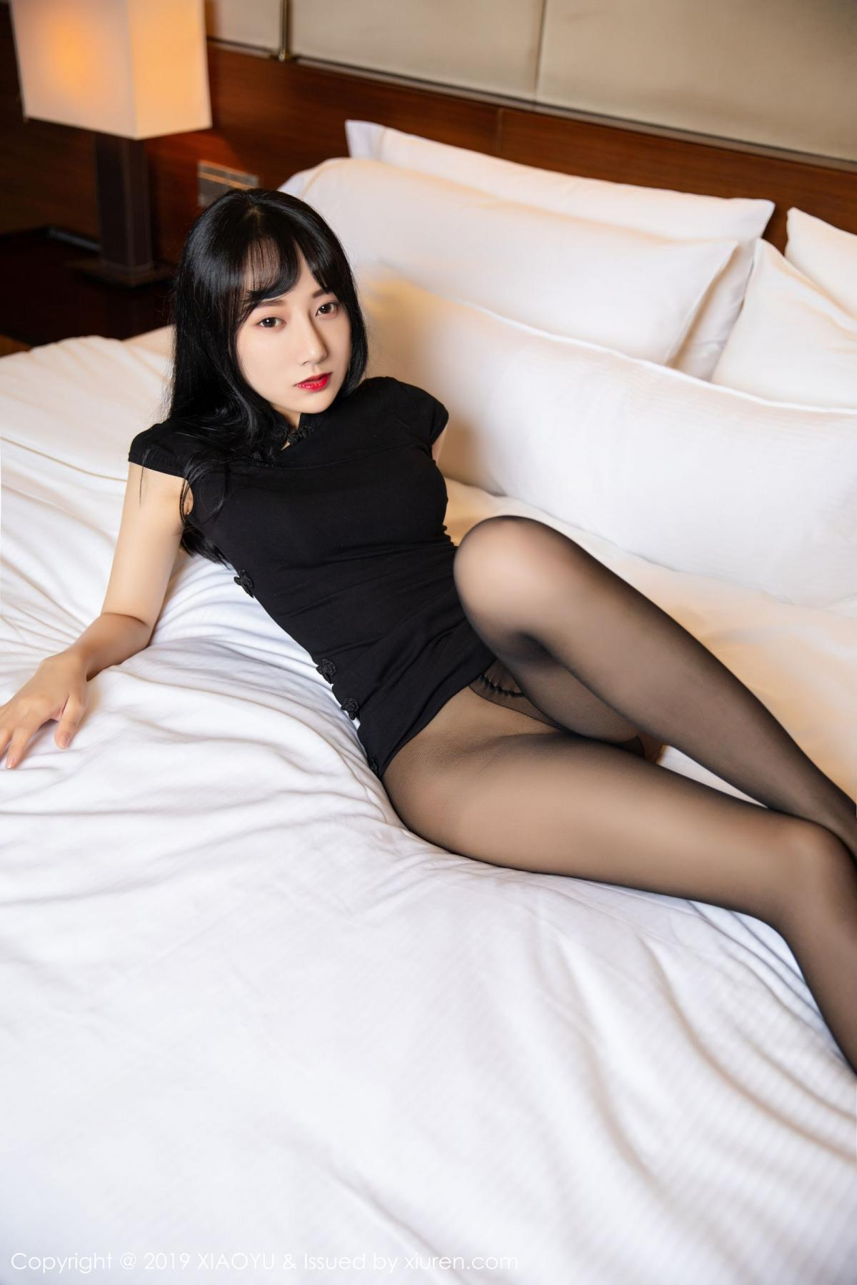 [XiaoYu] Vol.145 He Jia Ying 24P, Black Silk, He Jia Ying, Underwear, XiaoYu