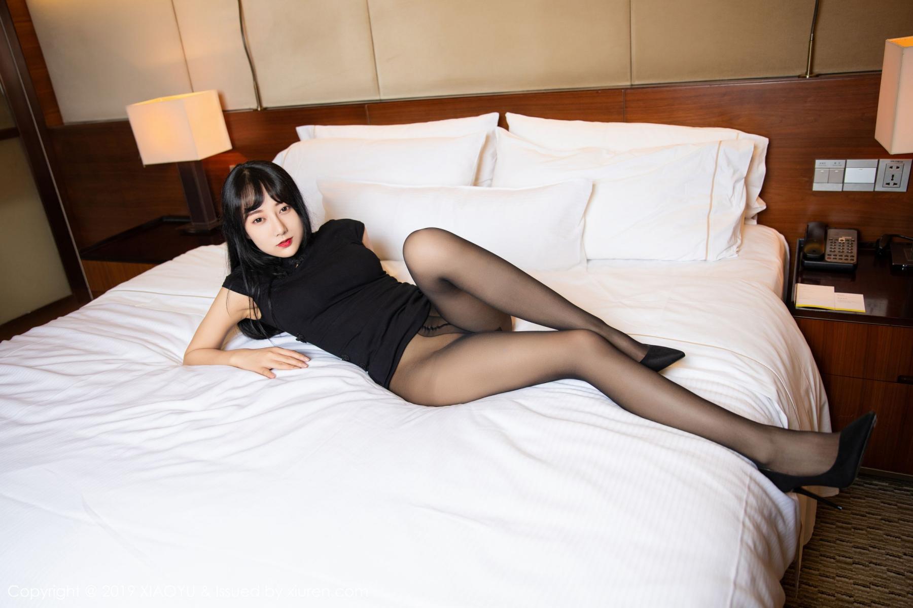 [XiaoYu] Vol.145 He Jia Ying 25P, Black Silk, He Jia Ying, Underwear, XiaoYu