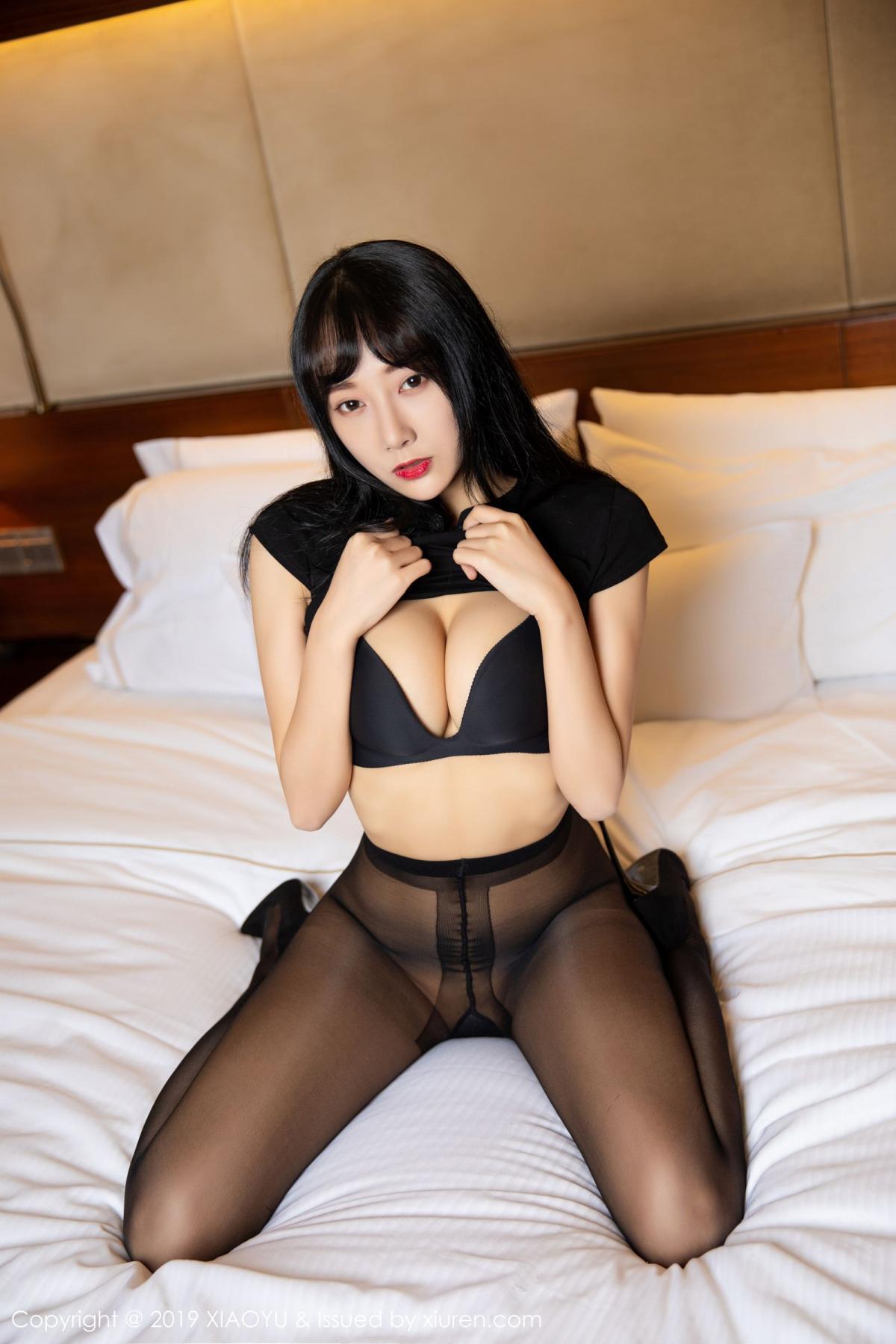 [XiaoYu] Vol.145 He Jia Ying 26P, Black Silk, He Jia Ying, Underwear, XiaoYu