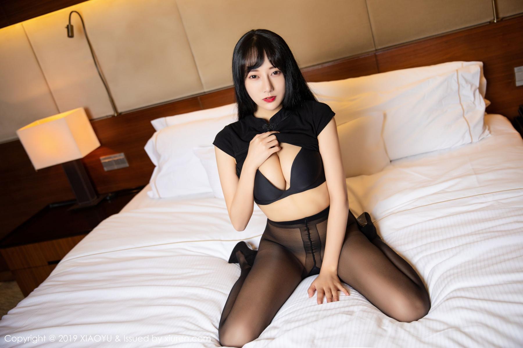 [XiaoYu] Vol.145 He Jia Ying 28P, Black Silk, He Jia Ying, Underwear, XiaoYu
