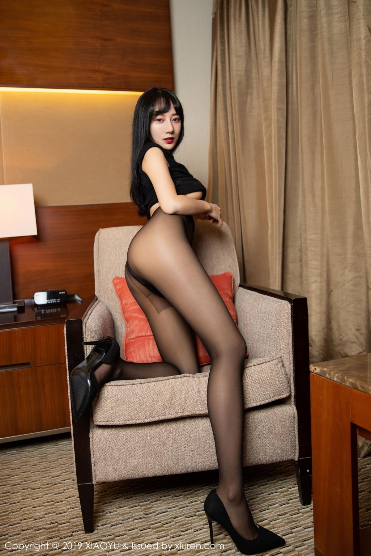 [XiaoYu] Vol.145 He Jia Ying 29P, Black Silk, He Jia Ying, Underwear, XiaoYu