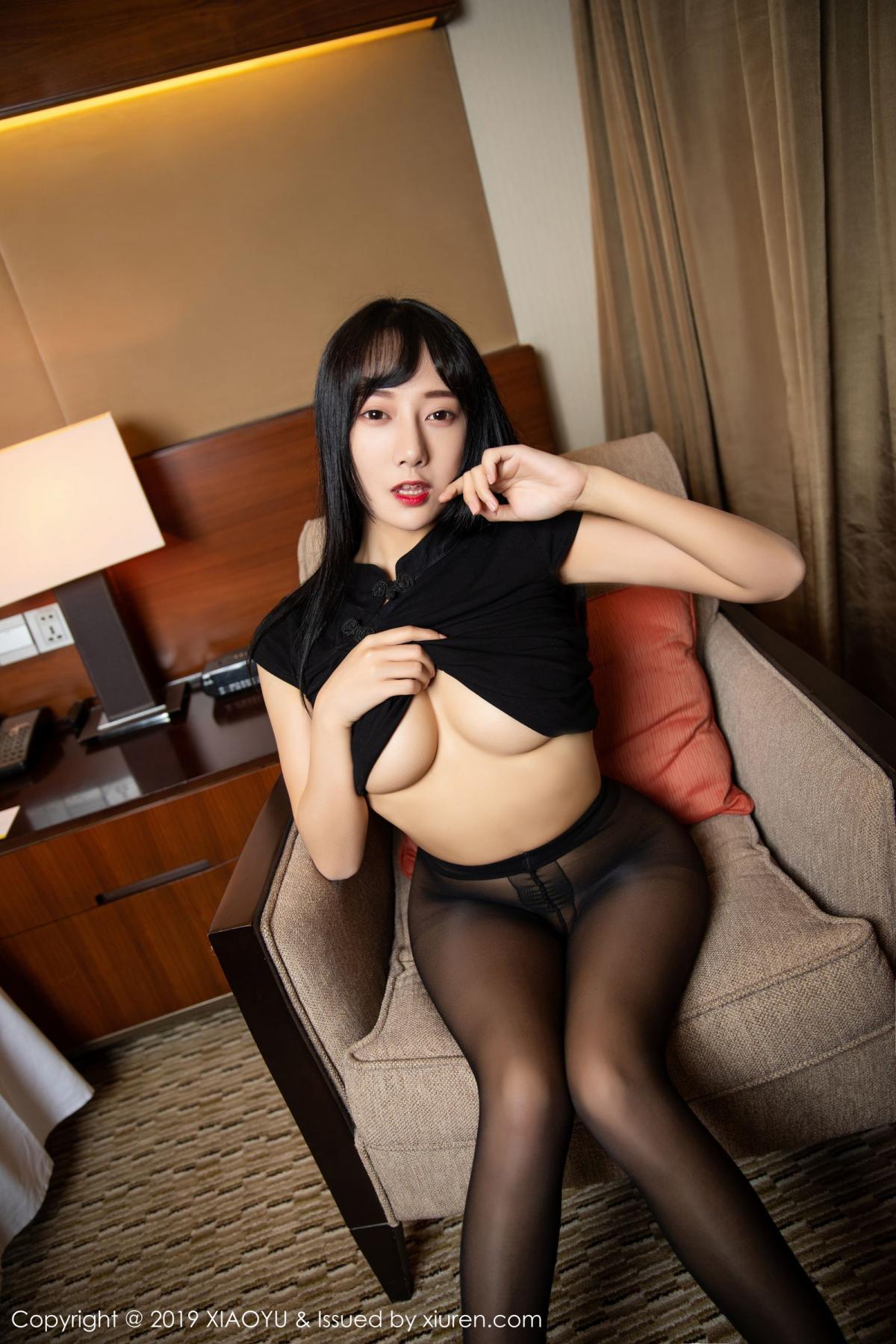 [XiaoYu] Vol.145 He Jia Ying 32P, Black Silk, He Jia Ying, Underwear, XiaoYu
