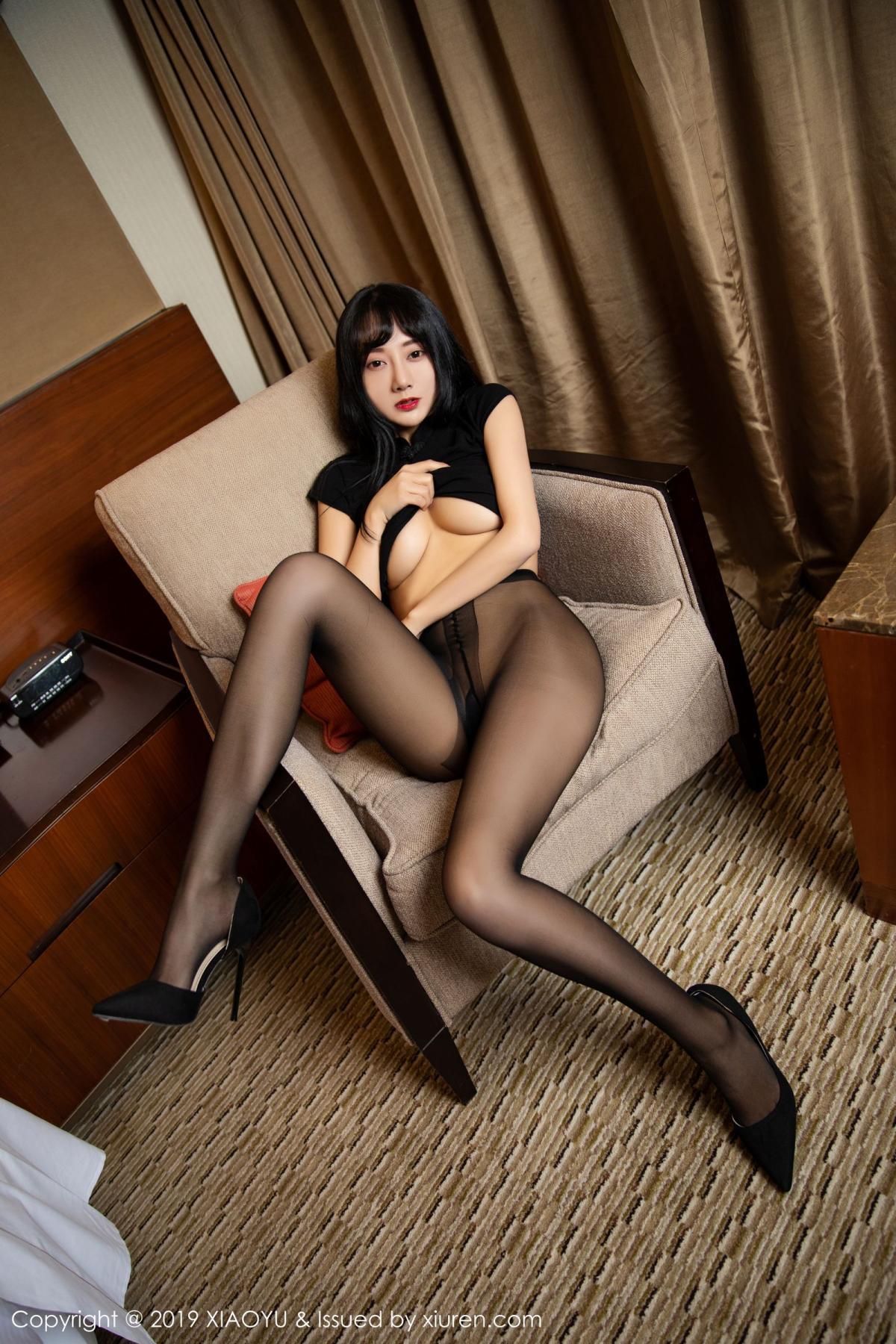 [XiaoYu] Vol.145 He Jia Ying 35P, Black Silk, He Jia Ying, Underwear, XiaoYu