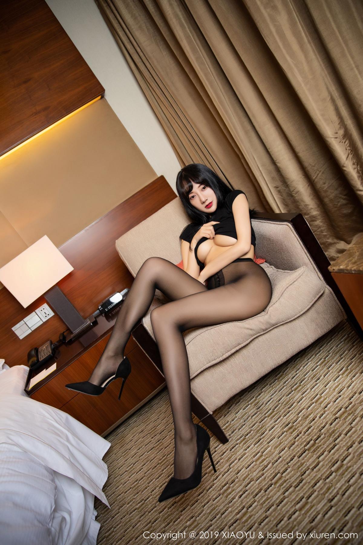 [XiaoYu] Vol.145 He Jia Ying 36P, Black Silk, He Jia Ying, Underwear, XiaoYu
