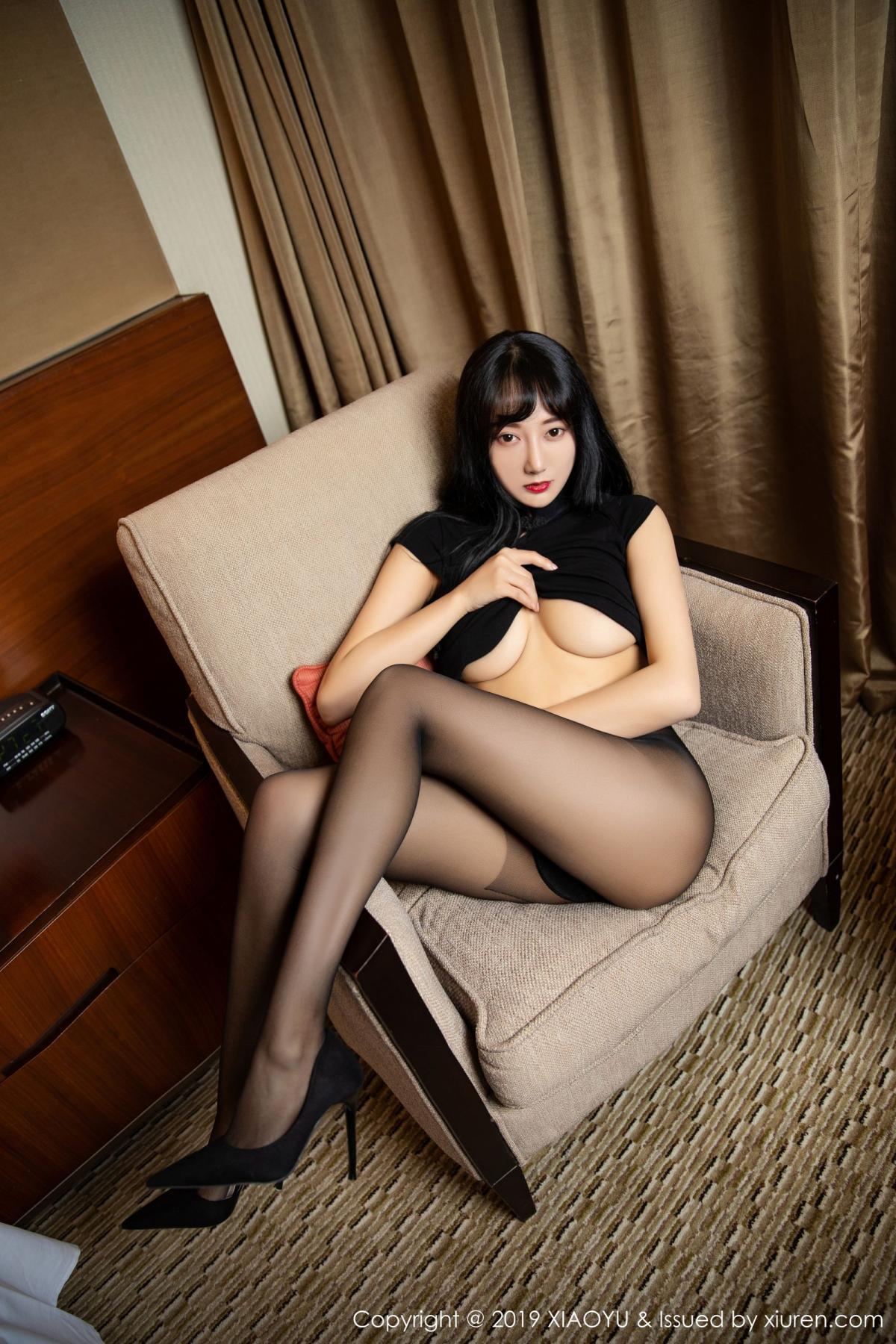 [XiaoYu] Vol.145 He Jia Ying 37P, Black Silk, He Jia Ying, Underwear, XiaoYu