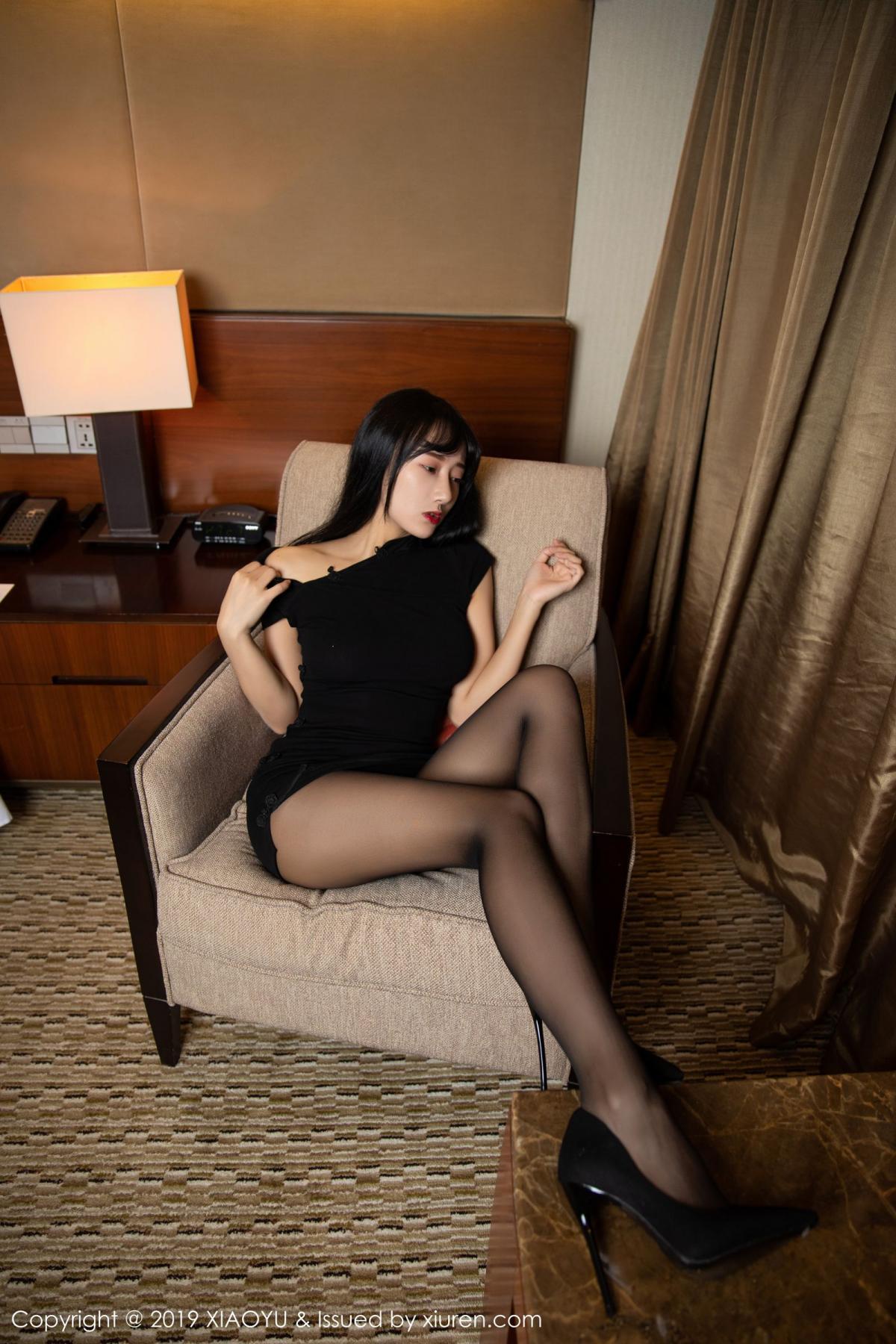 [XiaoYu] Vol.145 He Jia Ying 38P, Black Silk, He Jia Ying, Underwear, XiaoYu