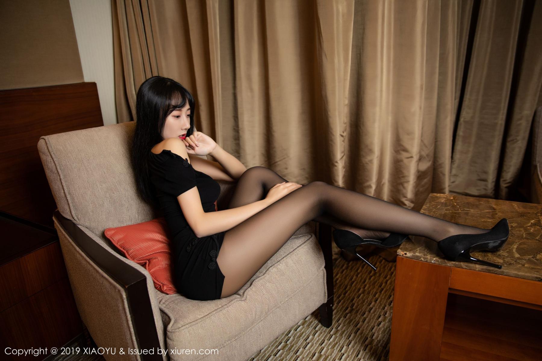 [XiaoYu] Vol.145 He Jia Ying 40P, Black Silk, He Jia Ying, Underwear, XiaoYu