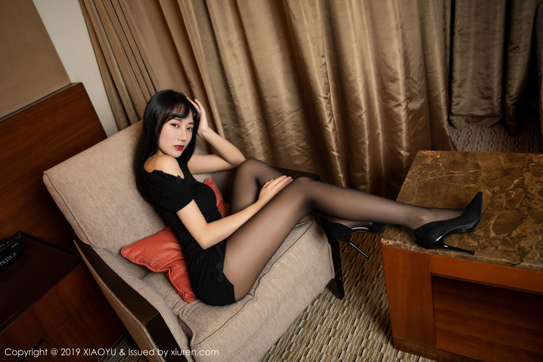 [XiaoYu] Vol.145 He Jia Ying 41P, Black Silk, He Jia Ying, Underwear, XiaoYu