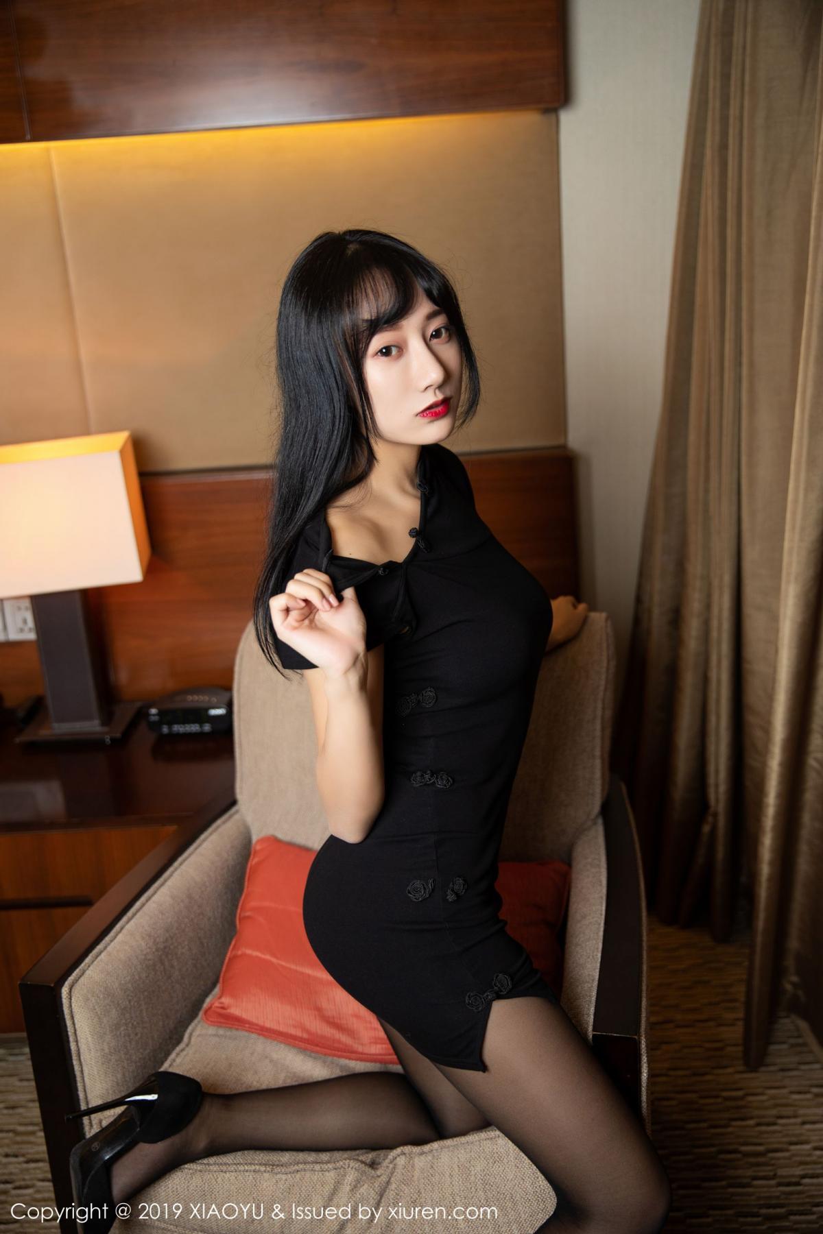 [XiaoYu] Vol.145 He Jia Ying 42P, Black Silk, He Jia Ying, Underwear, XiaoYu