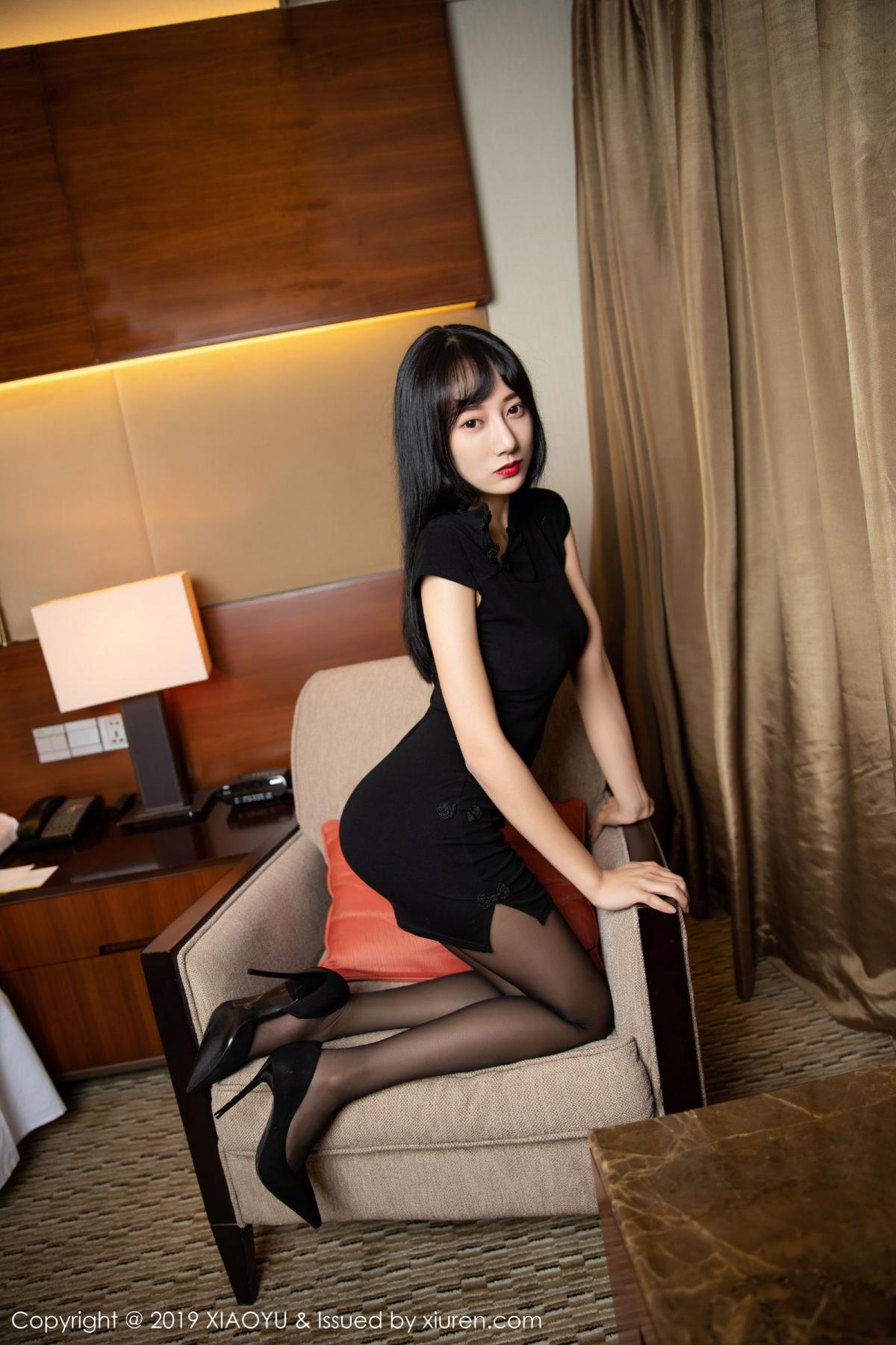 [XiaoYu] Vol.145 He Jia Ying 43P, Black Silk, He Jia Ying, Underwear, XiaoYu