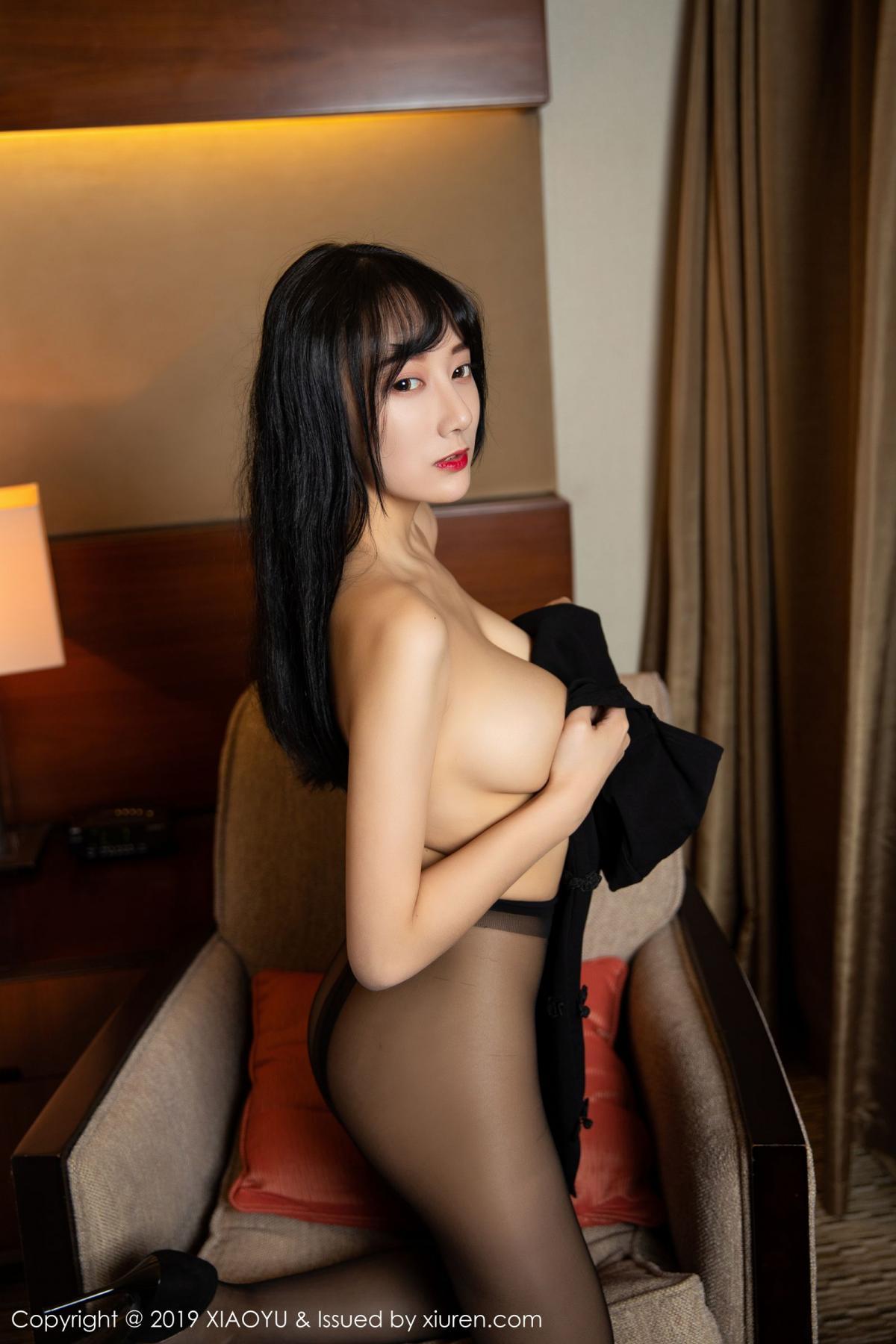 [XiaoYu] Vol.145 He Jia Ying 45P, Black Silk, He Jia Ying, Underwear, XiaoYu