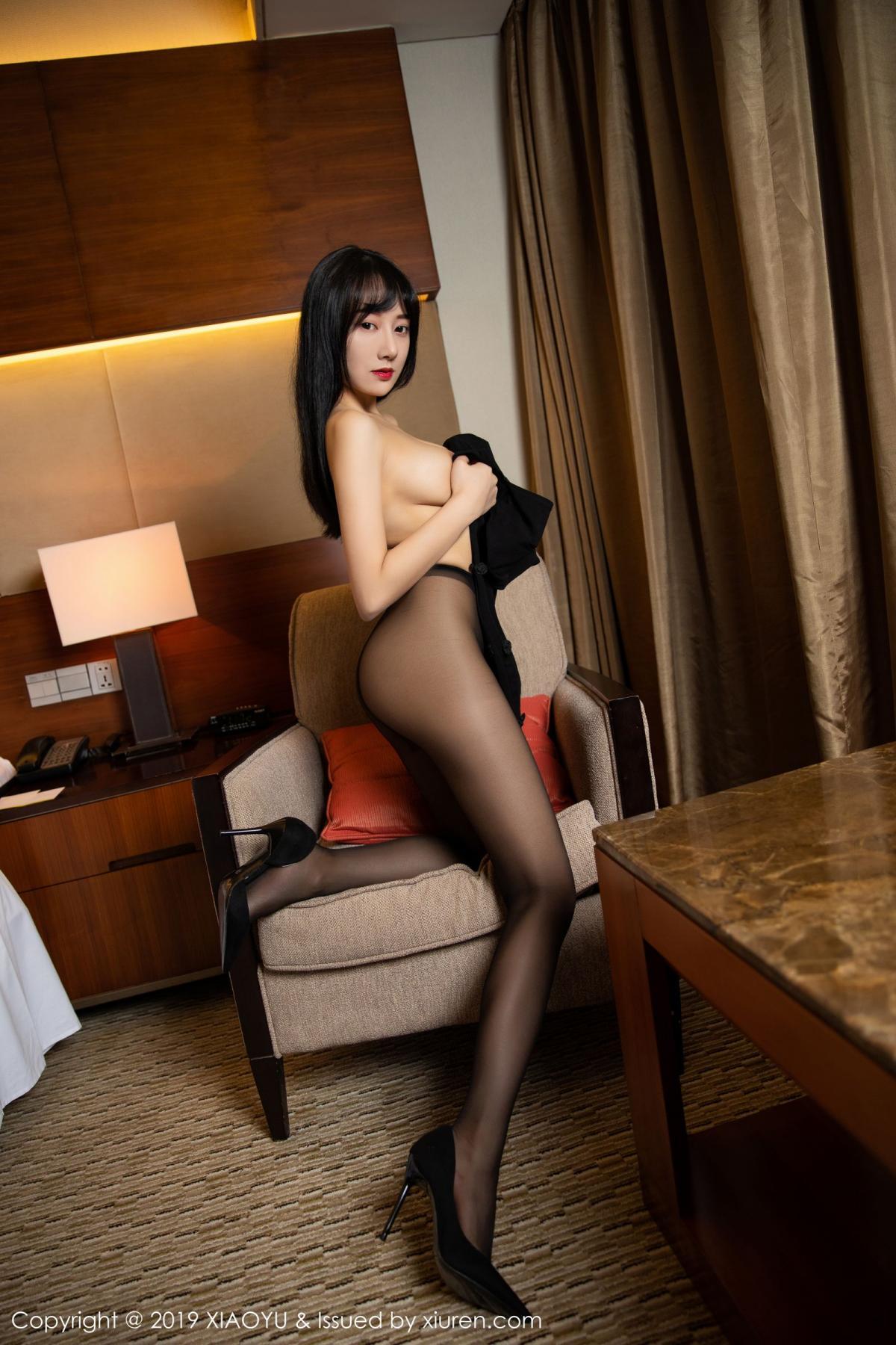 [XiaoYu] Vol.145 He Jia Ying 46P, Black Silk, He Jia Ying, Underwear, XiaoYu