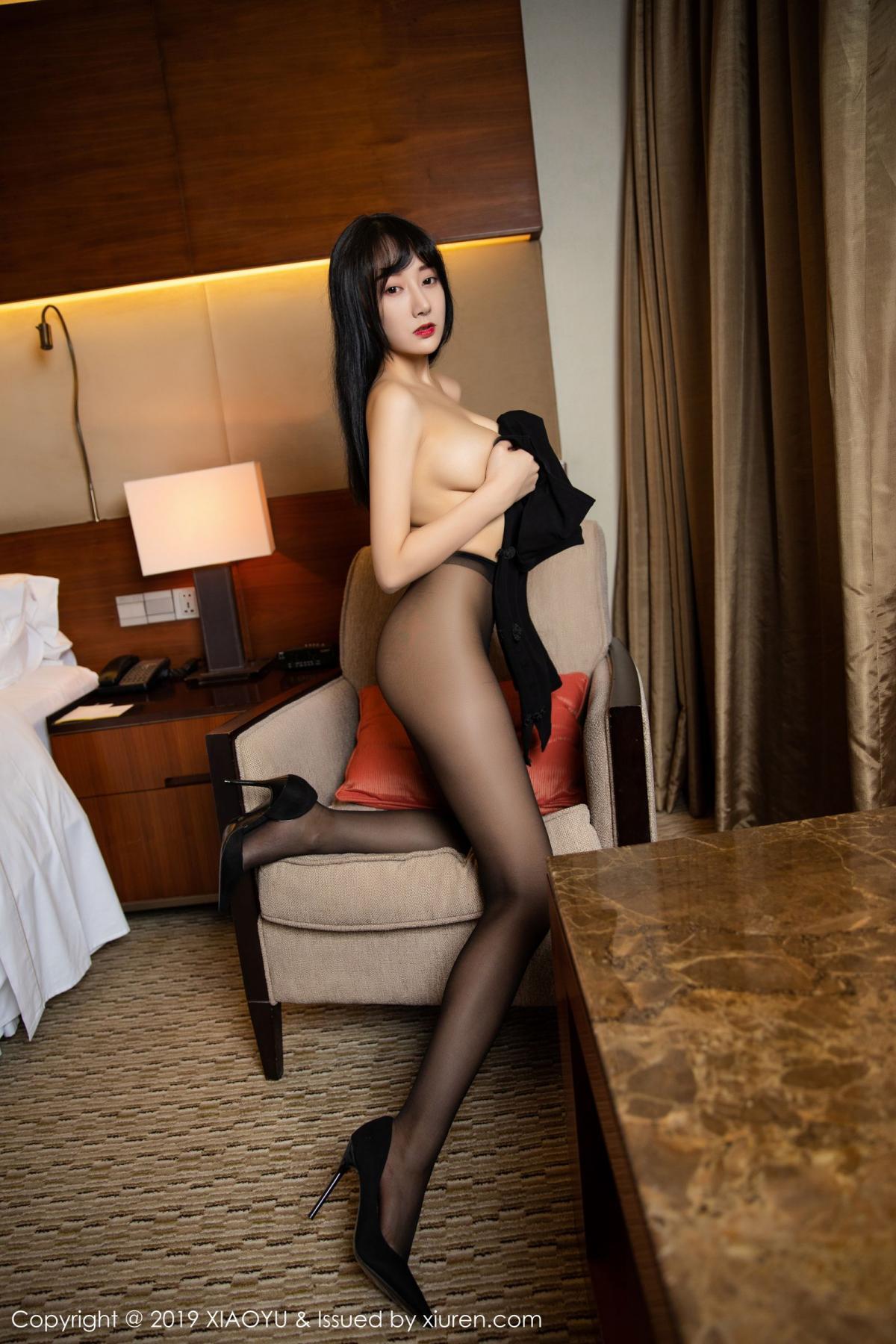 [XiaoYu] Vol.145 He Jia Ying 47P, Black Silk, He Jia Ying, Underwear, XiaoYu