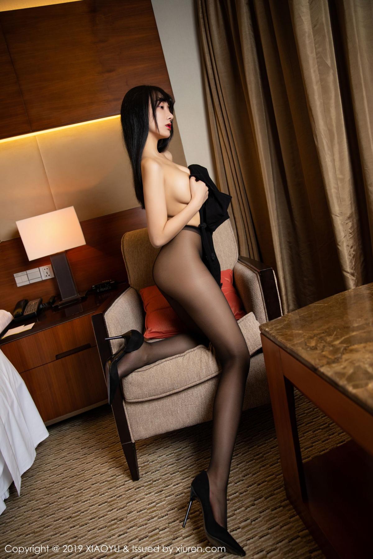 [XiaoYu] Vol.145 He Jia Ying 49P, Black Silk, He Jia Ying, Underwear, XiaoYu