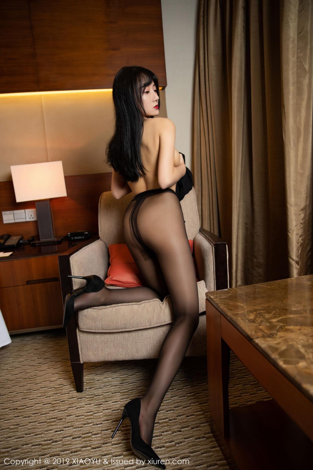 [XiaoYu] Vol.145 He Jia Ying 52P, Black Silk, He Jia Ying, Underwear, XiaoYu