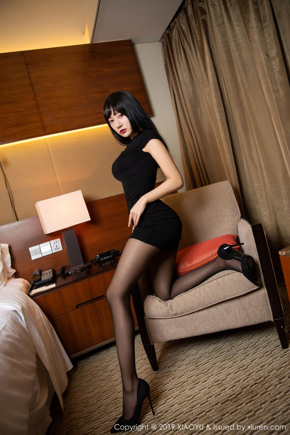 [XiaoYu] Vol.145 He Jia Ying 5P, Black Silk, He Jia Ying, Underwear, XiaoYu