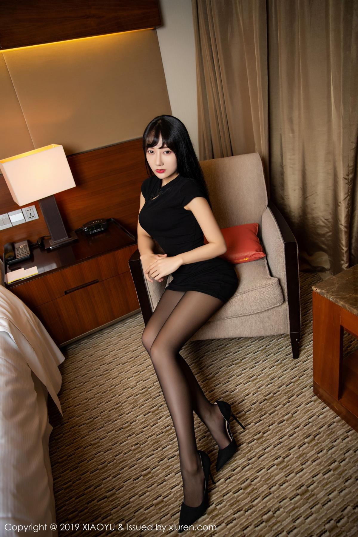 [XiaoYu] Vol.145 He Jia Ying 6P, Black Silk, He Jia Ying, Underwear, XiaoYu