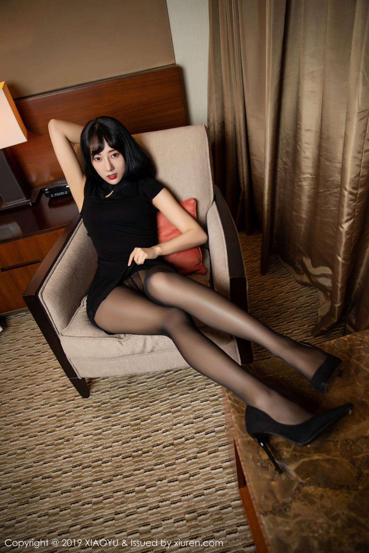 [XiaoYu] Vol.145 He Jia Ying 7P, Black Silk, He Jia Ying, Underwear, XiaoYu