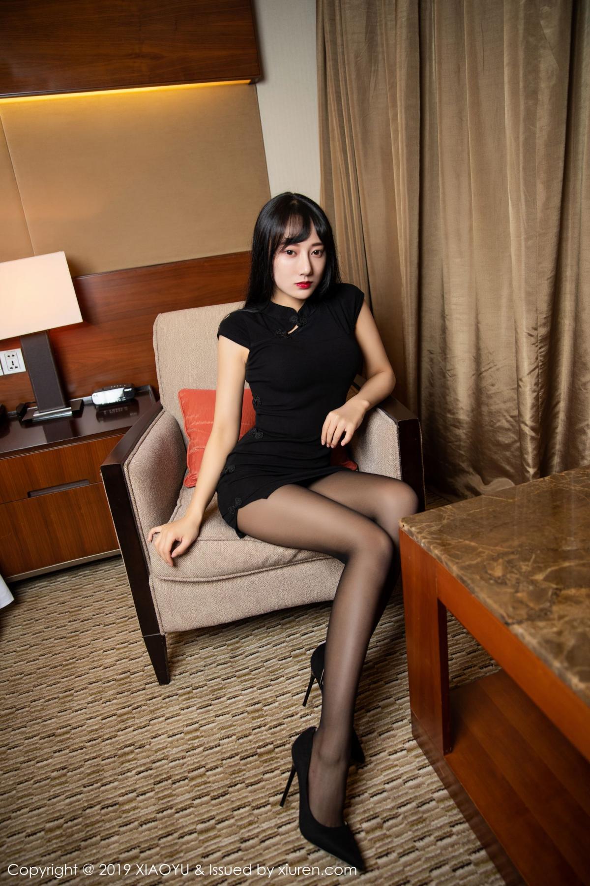 [XiaoYu] Vol.145 He Jia Ying 9P, Black Silk, He Jia Ying, Underwear, XiaoYu
