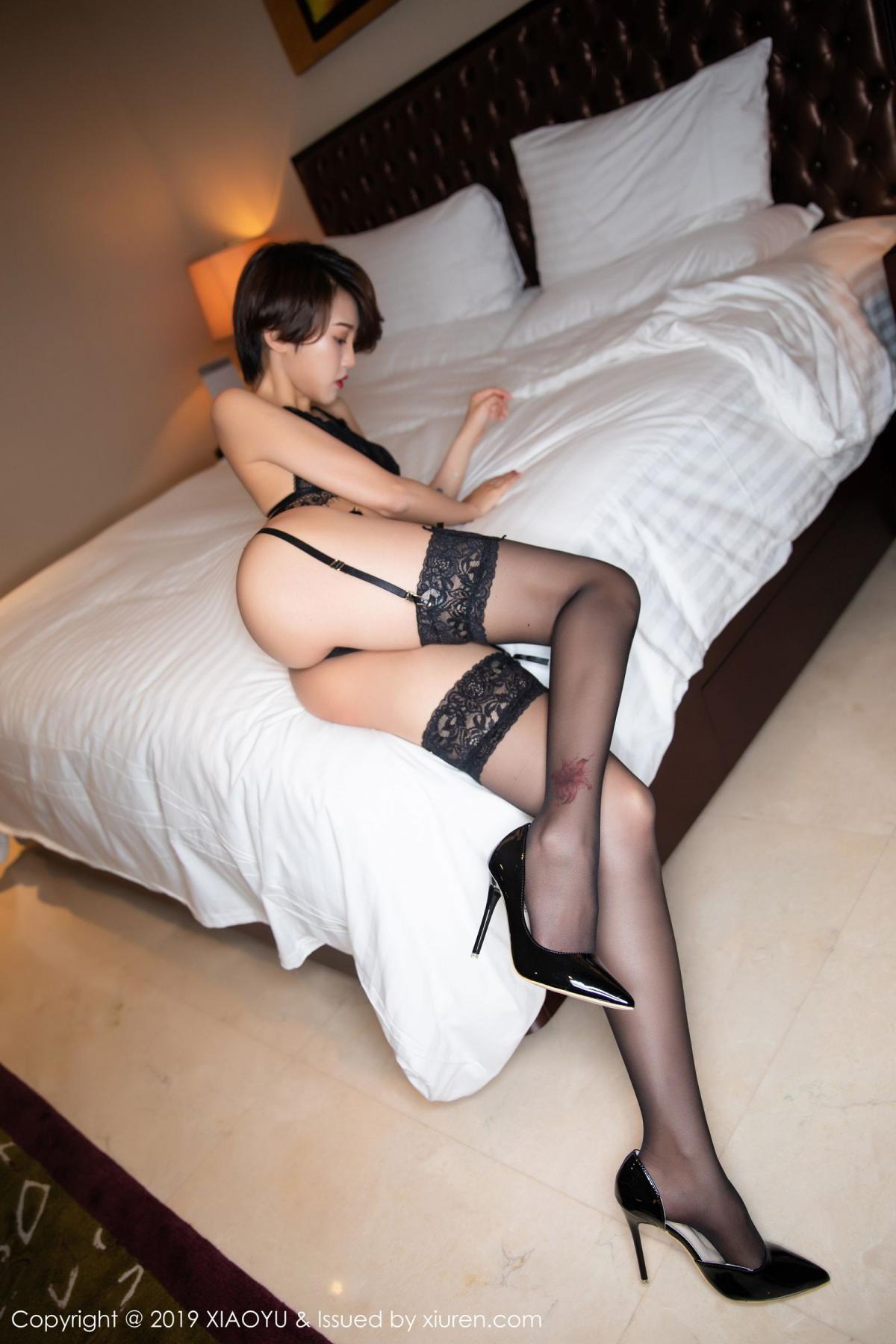[XiaoYu] Vol.146 Feng Mu Mu 22P, Black Silk, Feng Mu Mu, Tall, Underwear, XiaoYu