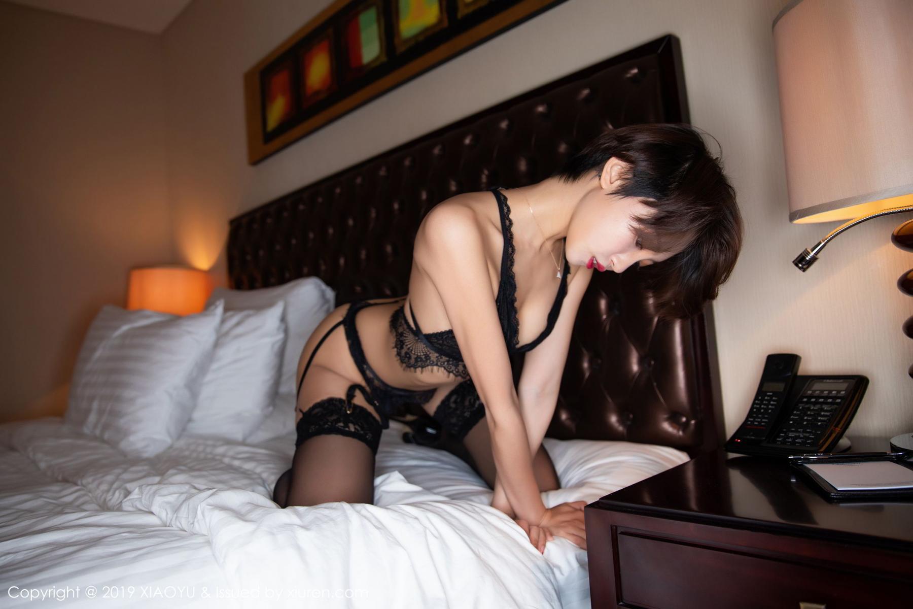 [XiaoYu] Vol.146 Feng Mu Mu 43P, Black Silk, Feng Mu Mu, Tall, Underwear, XiaoYu